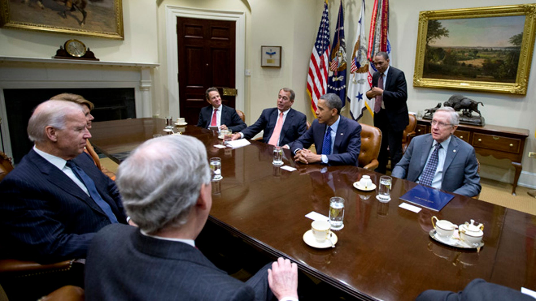 Nov. 16, 2012: President Barack Obama hosts a meeting of the bipartisan, bicameral leadership of Congress to discuss the deficit and economy in the Roosevelt Room of the White House in Washington.