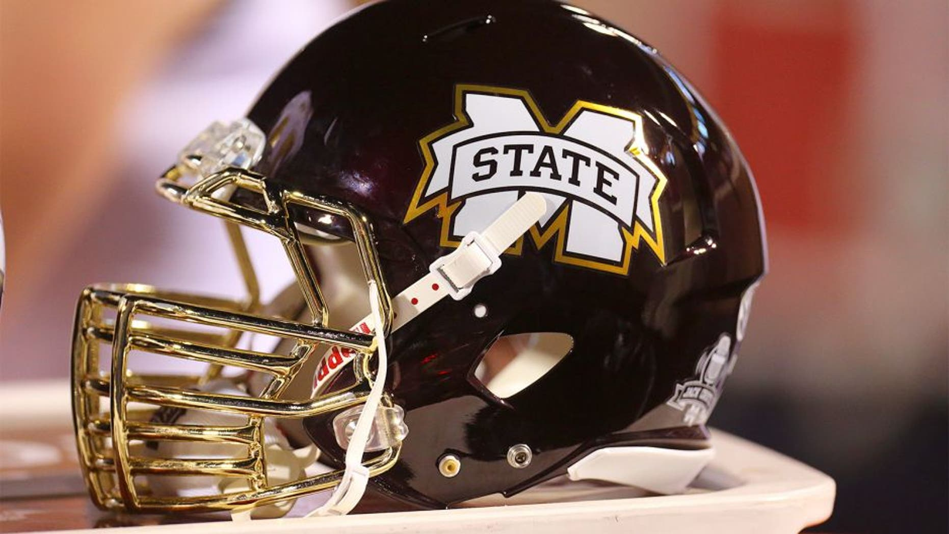Nov 29, 2014; Oxford, MS, USA; A Mississippi State Bulldogs helmet rest on the sidelines against the Mississippi Rebels at Vaught-Hemingway Stadium. The Rebels won 31-17. Mandatory Credit: Spruce Derden-USA TODAY Sports