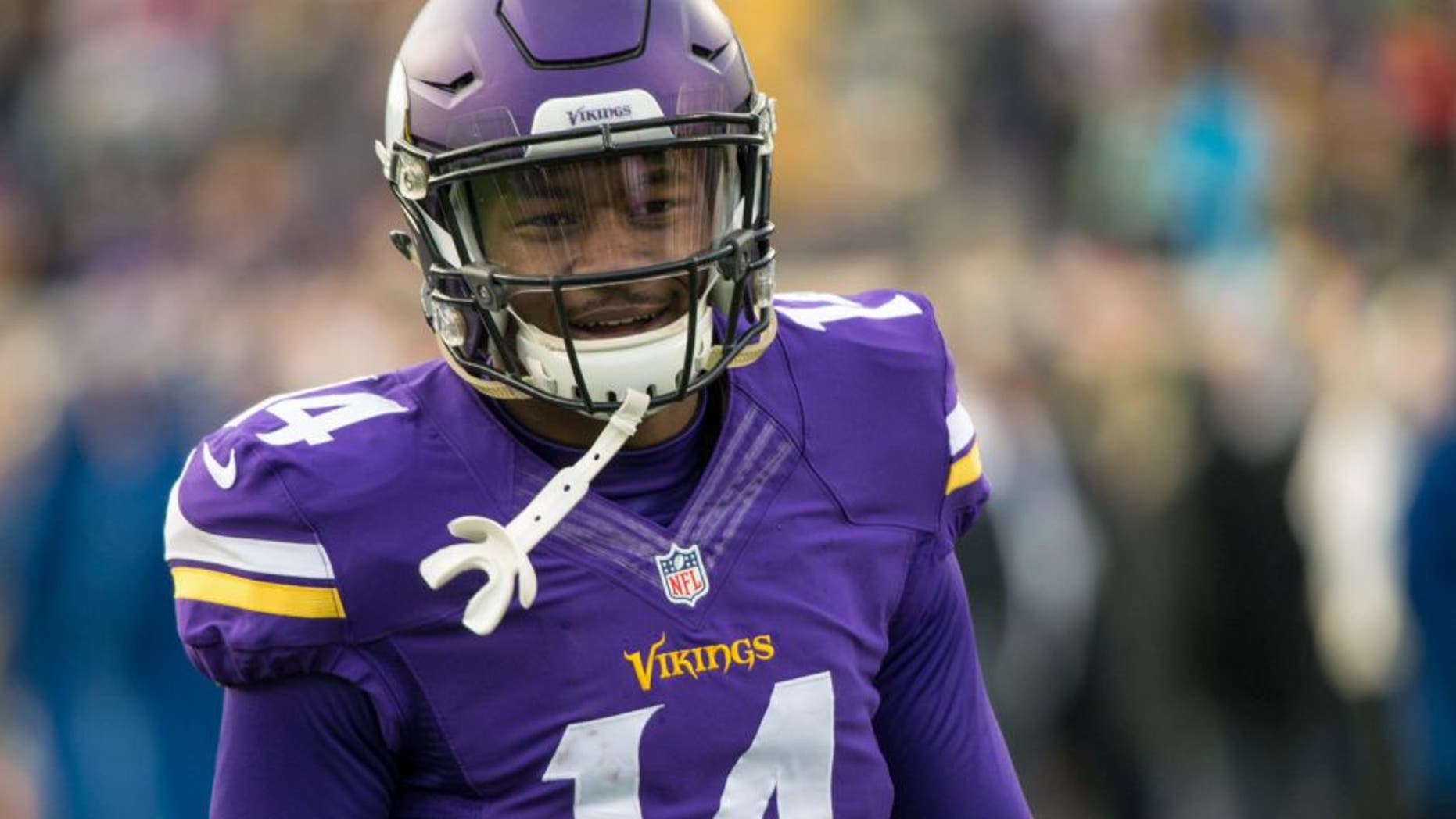 Nov 22, 2015; Minneapolis, MN, USA; Minnesota Vikings wide receiver Stefon Diggs (14) against the Green Bay Packers at TCF Bank Stadium. The Packers defeated the Vikings 30-15. Mandatory Credit: Brace Hemmelgarn-USA TODAY Sports
