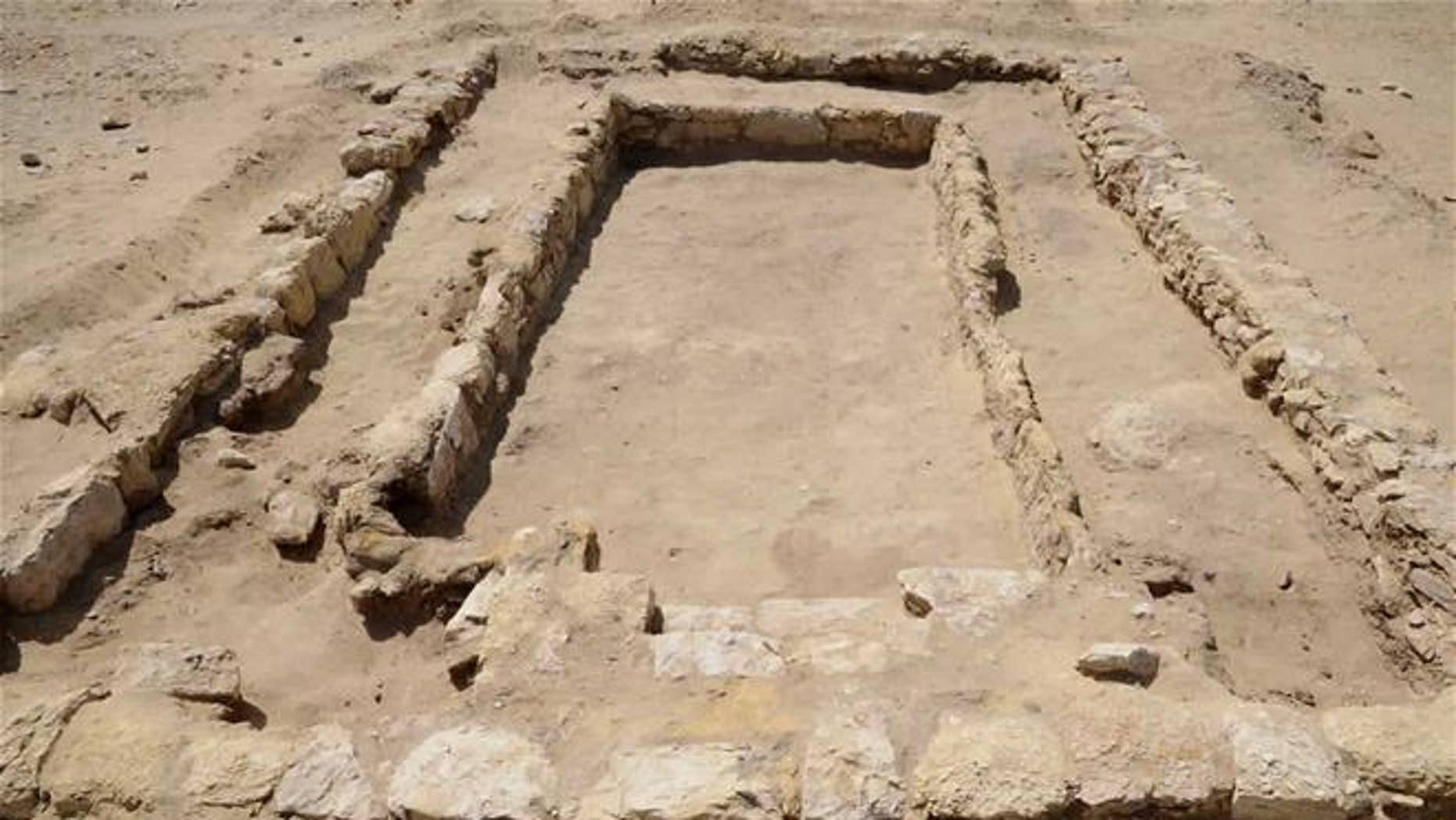 The site of an ancient dining room dating back about 2,300 years, in Egypt's Fayoum province.