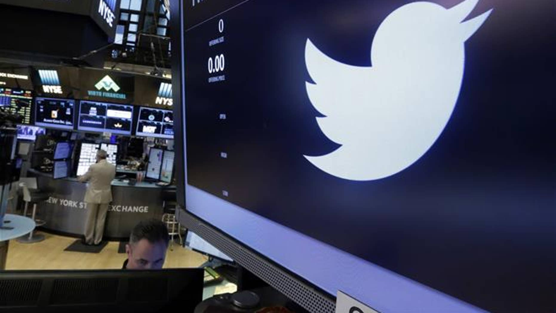 The Twitter logo appears at the post where it trades on the floor of the New York Stock Exchange.