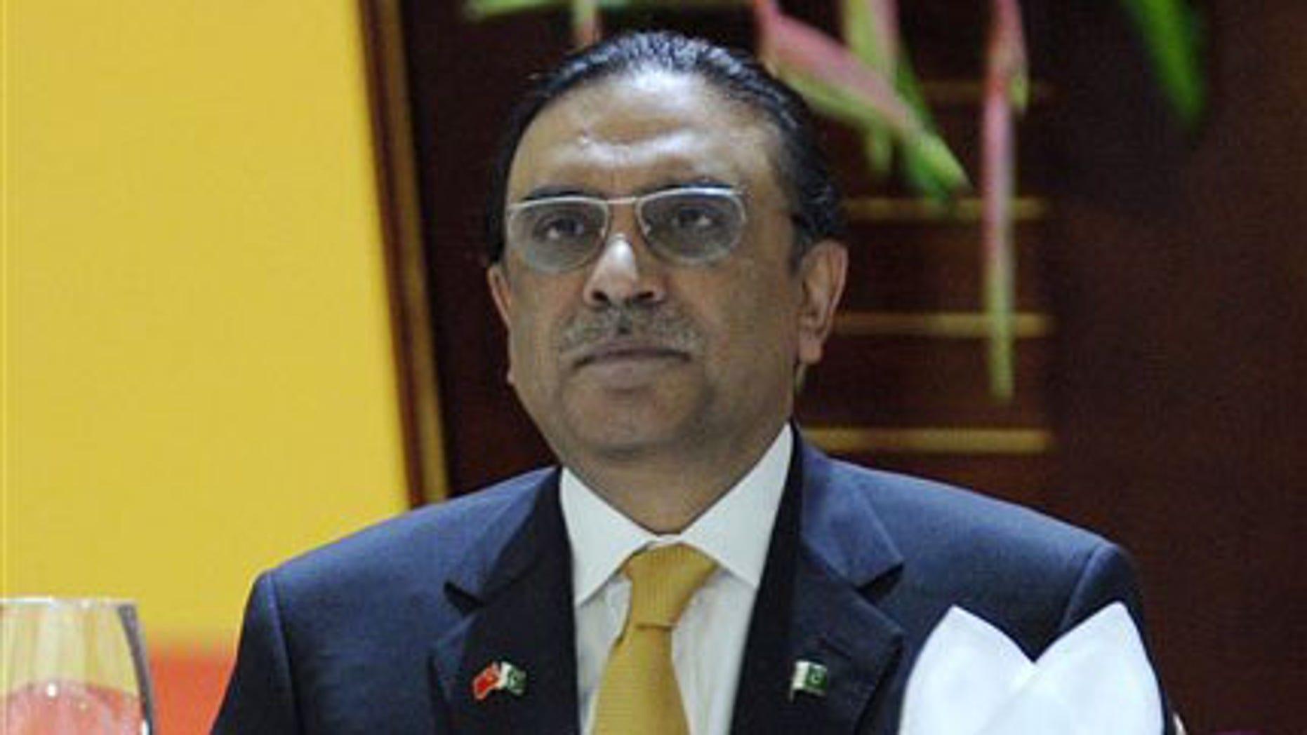 November 29, 2010: Pakistani President Asif Ali Zardari at a banquet in Guangzhou, China.