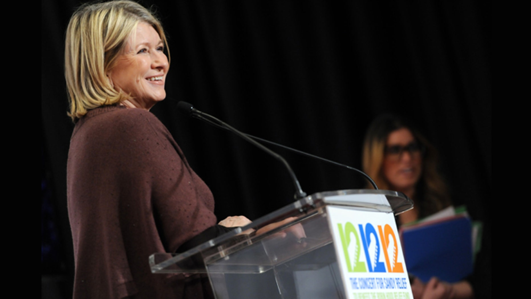 """Dec. 12, 2012: Martha Stewart appears backstage at """"12-12-12"""" The Concert for Sandy Relief in New York."""