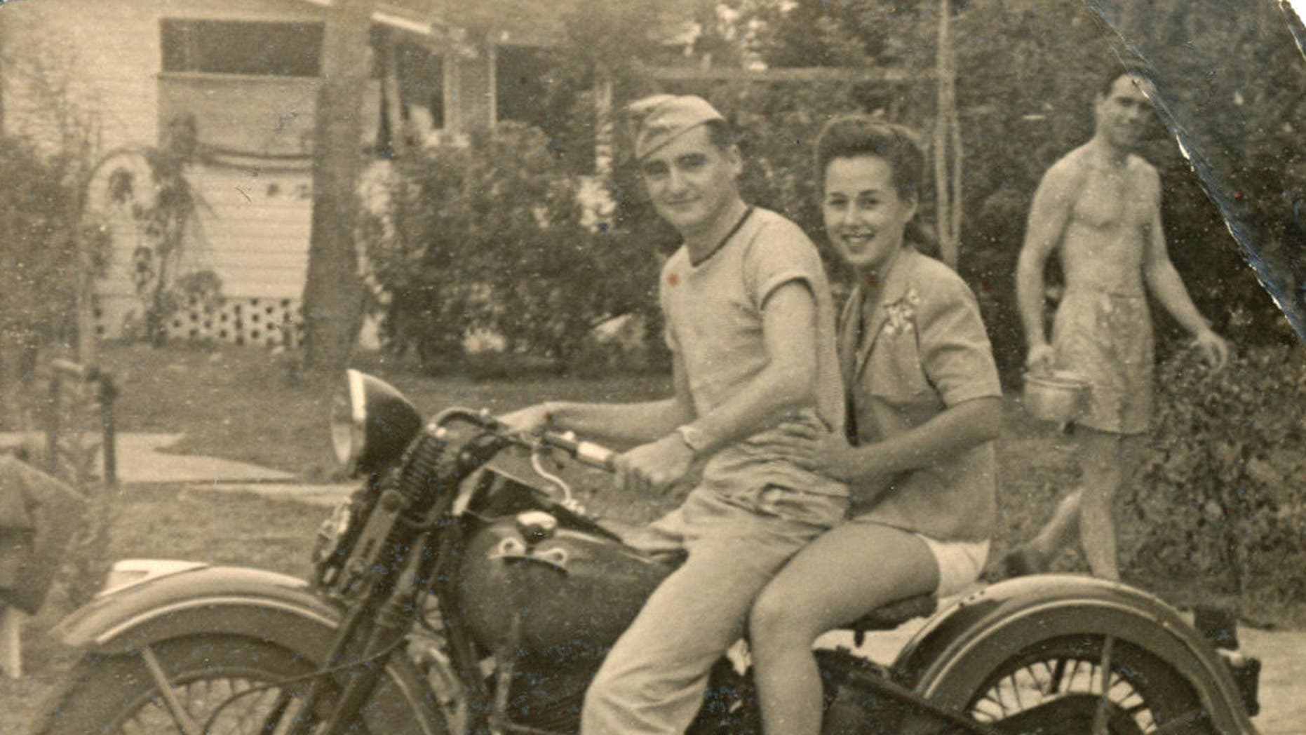 George and his wife, Betty Jo on his Harley Davidson after he got back home from the war and married her in 1946