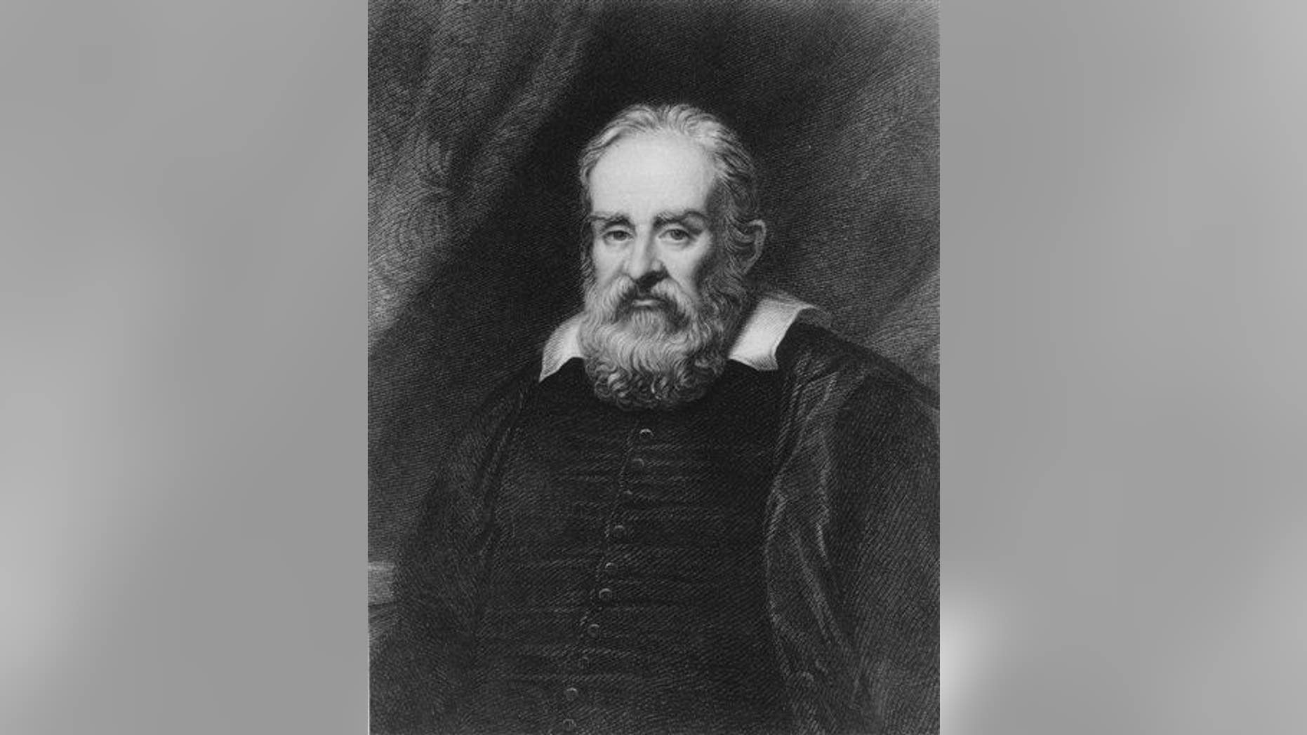 This undated file image shows an etching of astronomer Galileo Galilei.