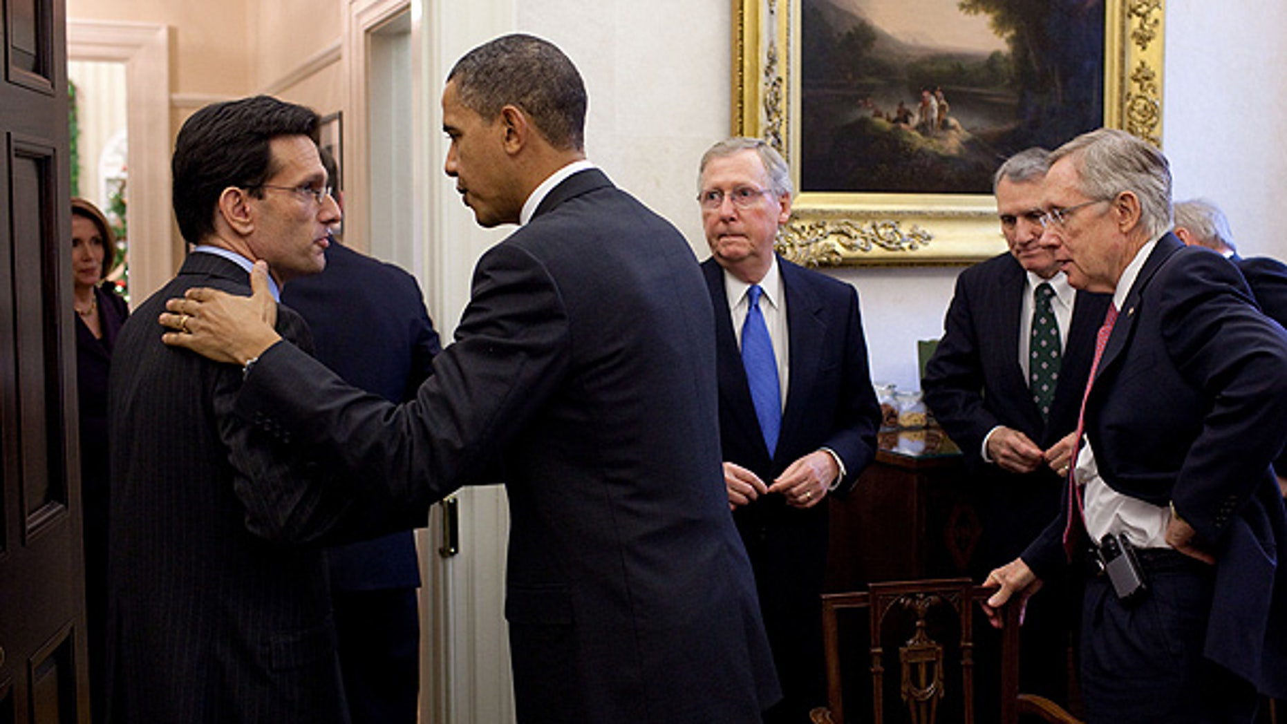 Nov. 30: President Obama talks with Rep. Eric Cantor, R-Va., as Sen. Mitch McConnell, Sen. Jon Kyl and Senate Majority Leader Harry Reid look on at the conclusion of a meeting in the Oval Office Private Dining Room.