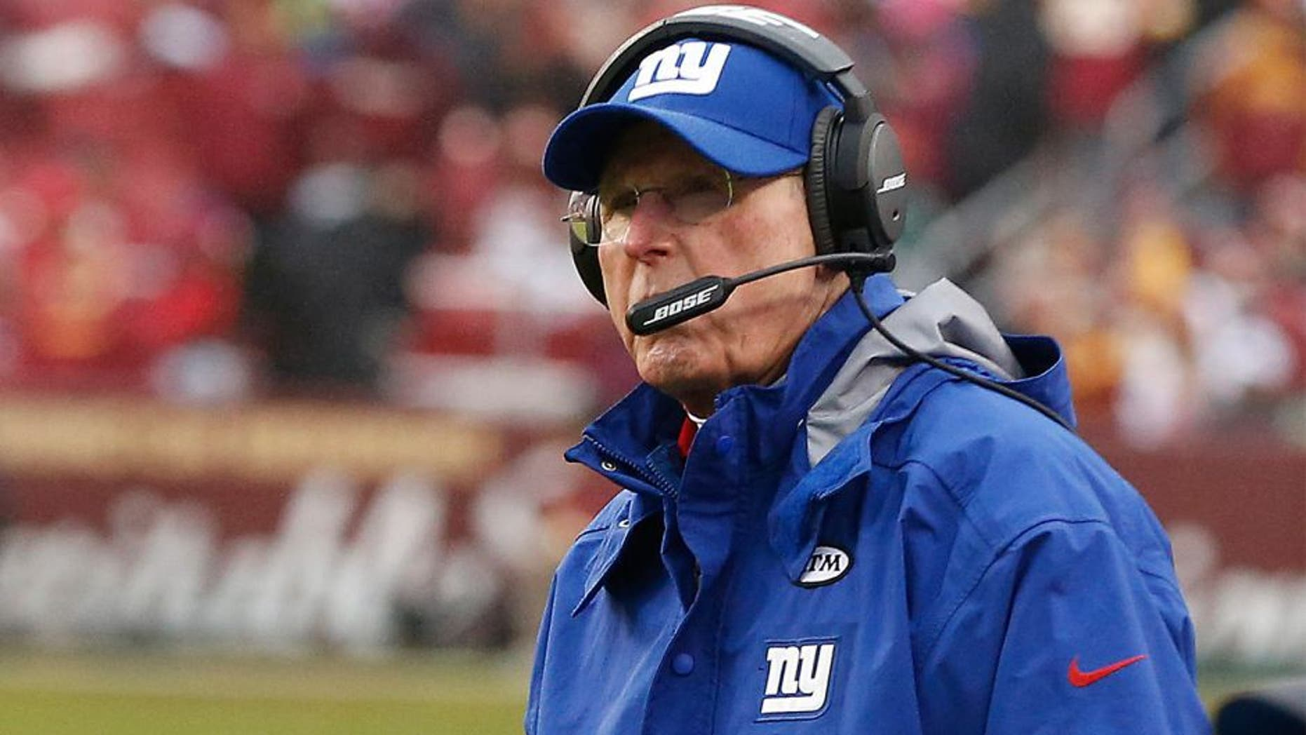 Nov 29, 2015; Landover, MD, USA; New York Giants head coach Tom Coughlin looks on from the sidelines against the Washington Redskins in the second quarter at FedEx Field. The Redskins won 20-14. Mandatory Credit: Geoff Burke-USA TODAY Sports