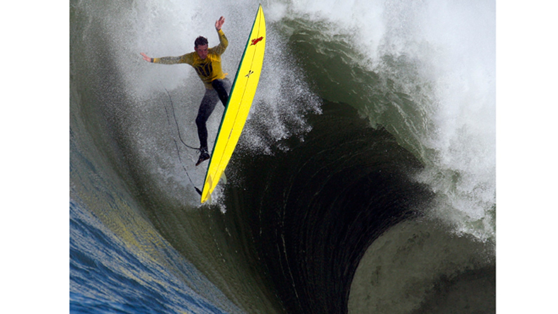 FILE - In this file photo from Saturday, Feb. 13, 2010, Ion Banner loses control on a giant wave during the Mavericks surfing contest in Half Moon Bay, Calif.