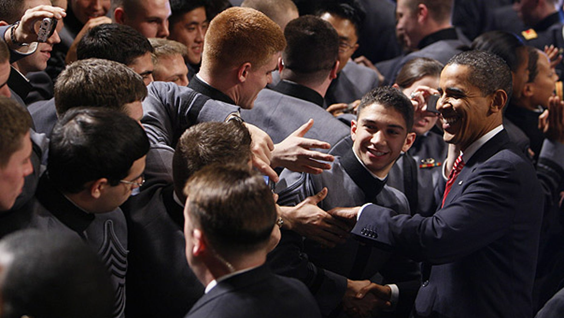 Dec. 1: President Barack Obama greets cadets after speaking about the war in Afghanistan at the U.S. Military Academy at West Point, N.Y. (AP)