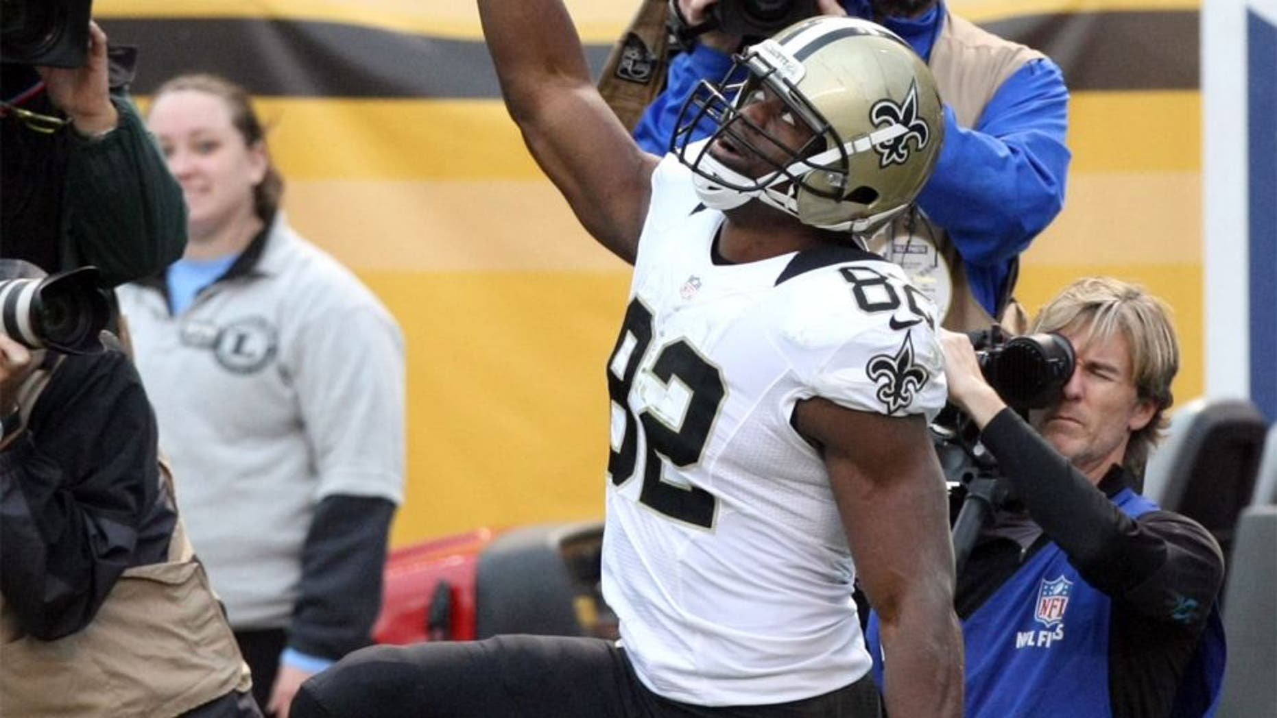 Nov 30, 2014; Pittsburgh, PA, USA; New Orleans Saints tight end Benjamin Watson (82) celebrates a touchdown against the Pittsburgh Steelers during the first half at Heinz Field. Mandatory Credit: Jason Bridge-USA TODAY Sports