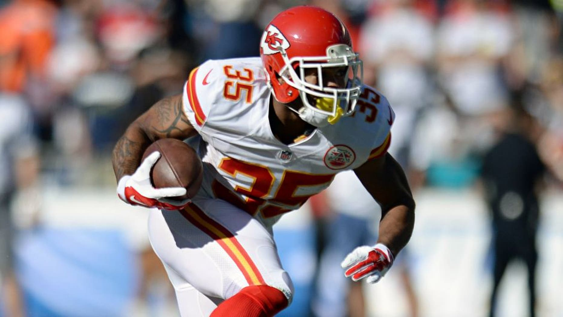 Nov 22, 2015; San Diego, CA, USA; Kansas City Chiefs running back Charcandrick West (35) runs the ball during the first quarter against the San Diego Chargers at Qualcomm Stadium. Mandatory Credit: Jake Roth-USA TODAY Sports