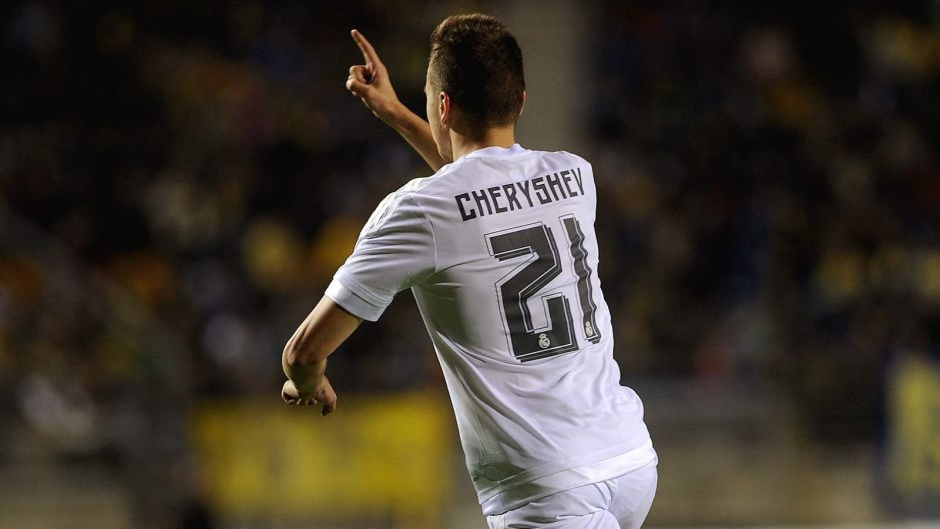 Real Madrid's Russian midfielder Denis Cheryshev celebrates after scoring during the Spanish Copa del Rey (King's Cup) football match Cadiz CF vs Real Madrid at the Ramon de Carranza in Cadiz on December 2, 2015. AFP PHOTO / CRISTINA QUICLER / AFP / CRISTINA QUICLER (Photo credit should read CRISTINA QUICLER/AFP/Getty Images)