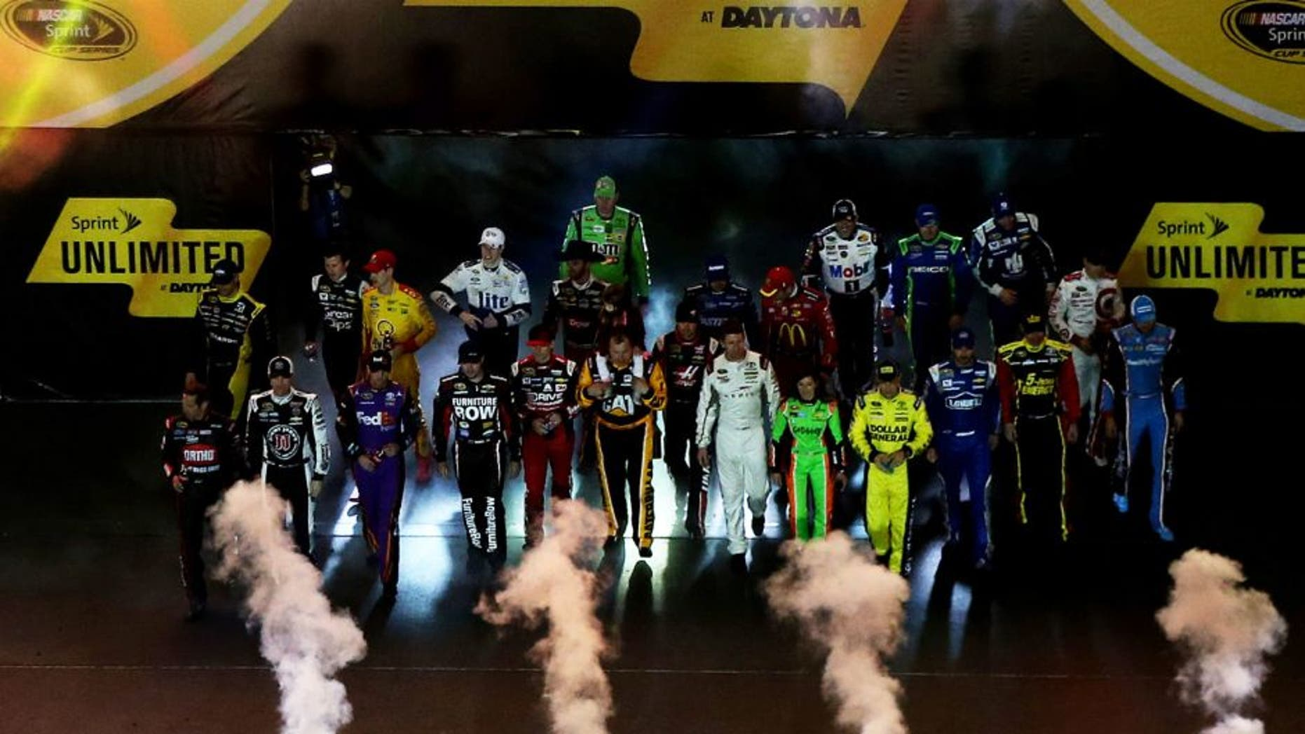 DAYTONA BEACH, FL - FEBRUARY 14: A view of driver introductions prior to the 3rd Annual Sprint Unlimited at Daytona at Daytona International Speedway on February 14, 2015 in Daytona Beach, Florida. (Photo by Sean Gardner/NASCAR via Getty Images)