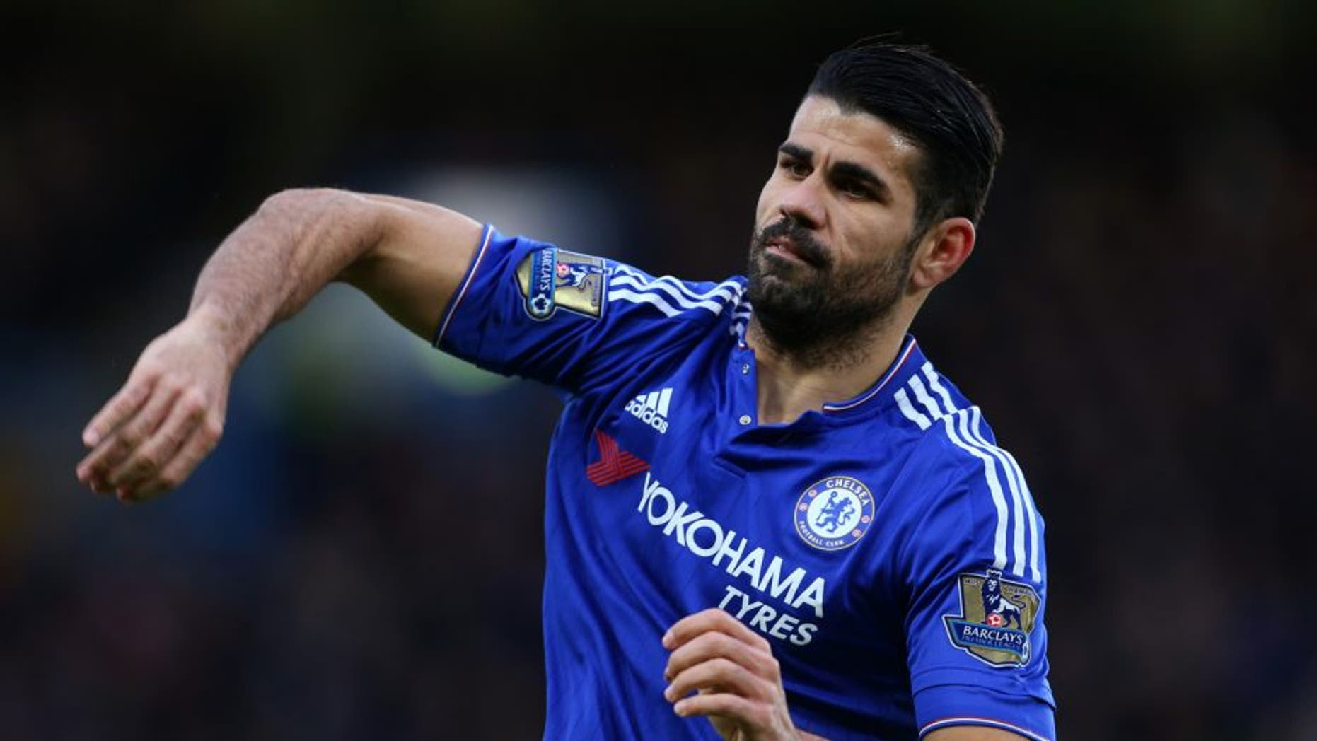 LONDON, ENGLAND - FEBRUARY 07 : Diego Costa of Chelsea during the Barclays Premier League match between Chelsea and Manchester United at Stamford Bridge on February 7, 2016 in London, England. (Photo by Catherine Ivill - AMA/Getty Images)