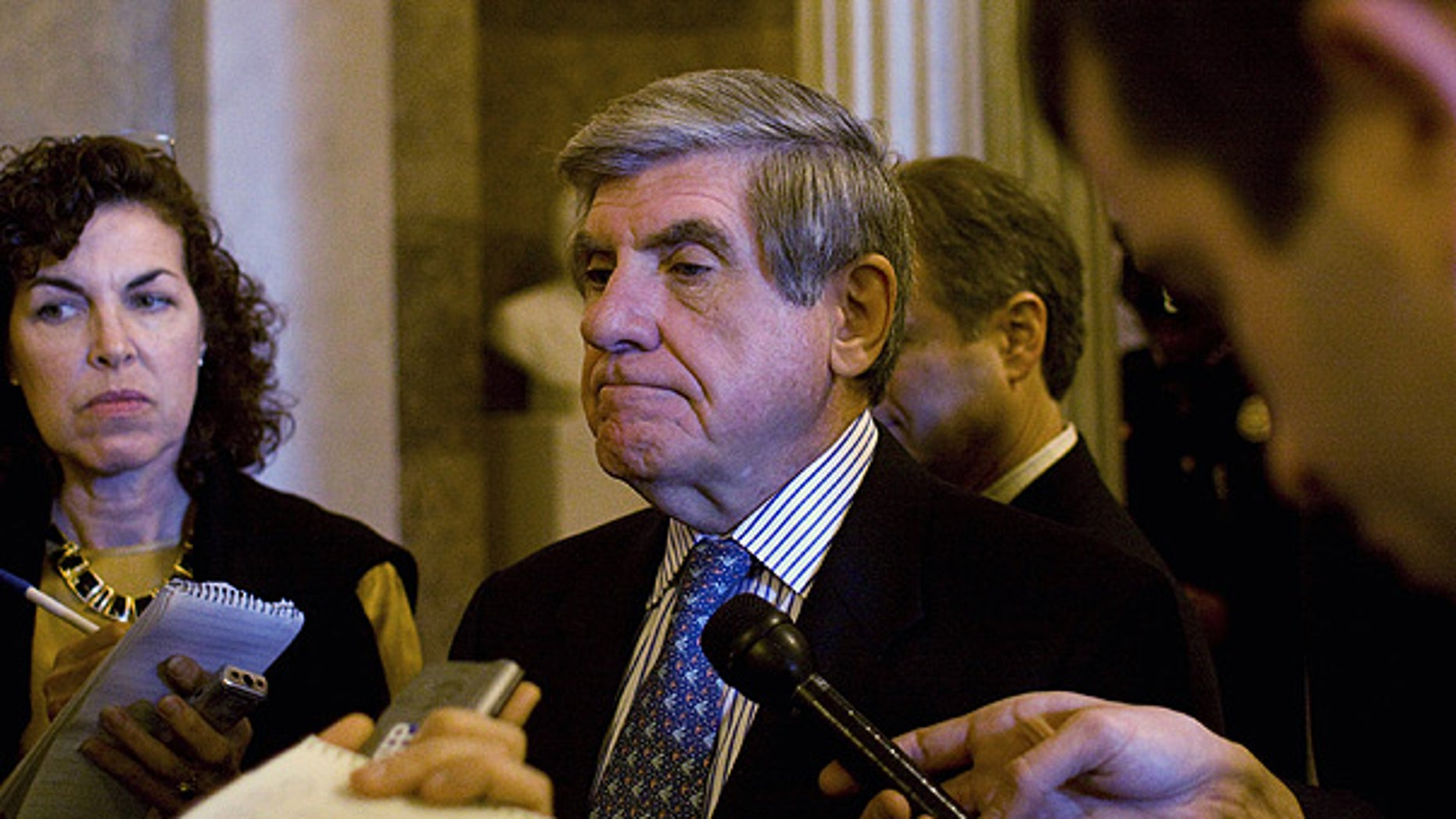 Nov. 3: Sen. Ben. Nelson talks to reporters about health care on Capitol Hill. (AP)