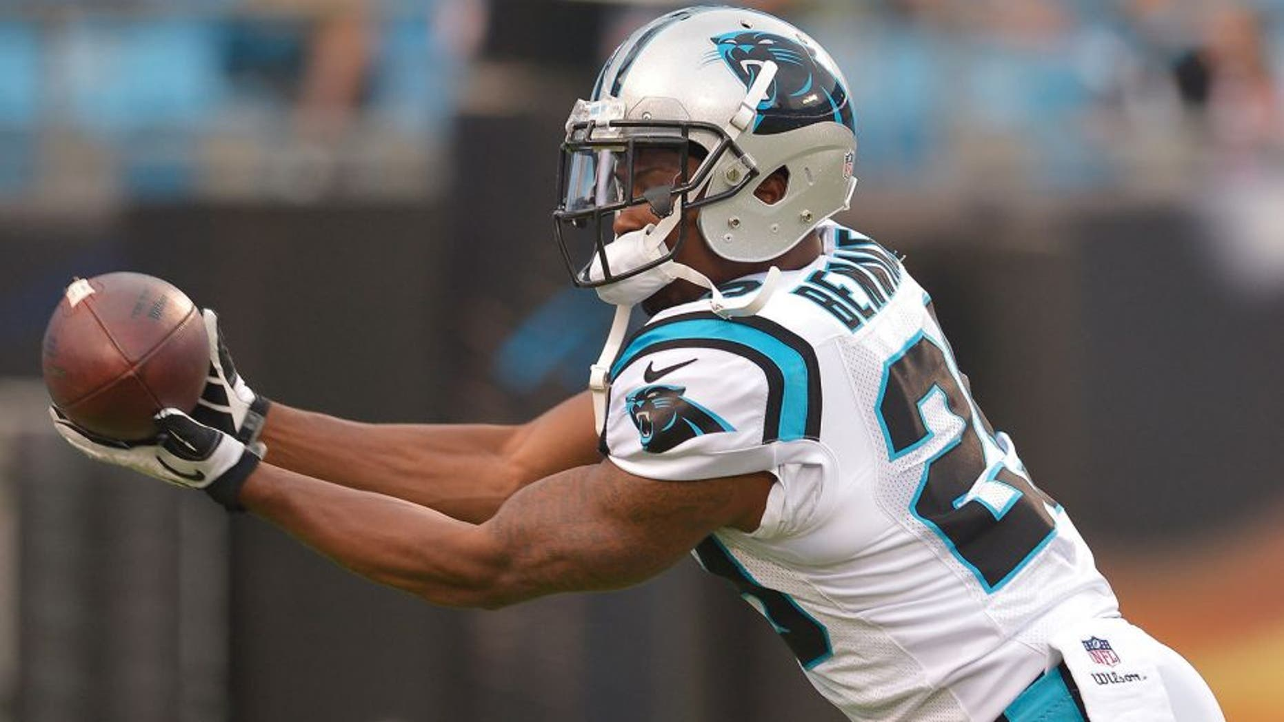 CHARLOTTE, NC - AUGUST 17: Bene Benwikere #29 of the Carolina Panthers against the Kansas City Chiefs during their game at Bank of America Stadium on August 17, 2014 in Charlotte, North Carolina. Carolina won 28-16. (Photo by Grant Halverson/Getty Images) *** Local Caption *** Bene Benwikere