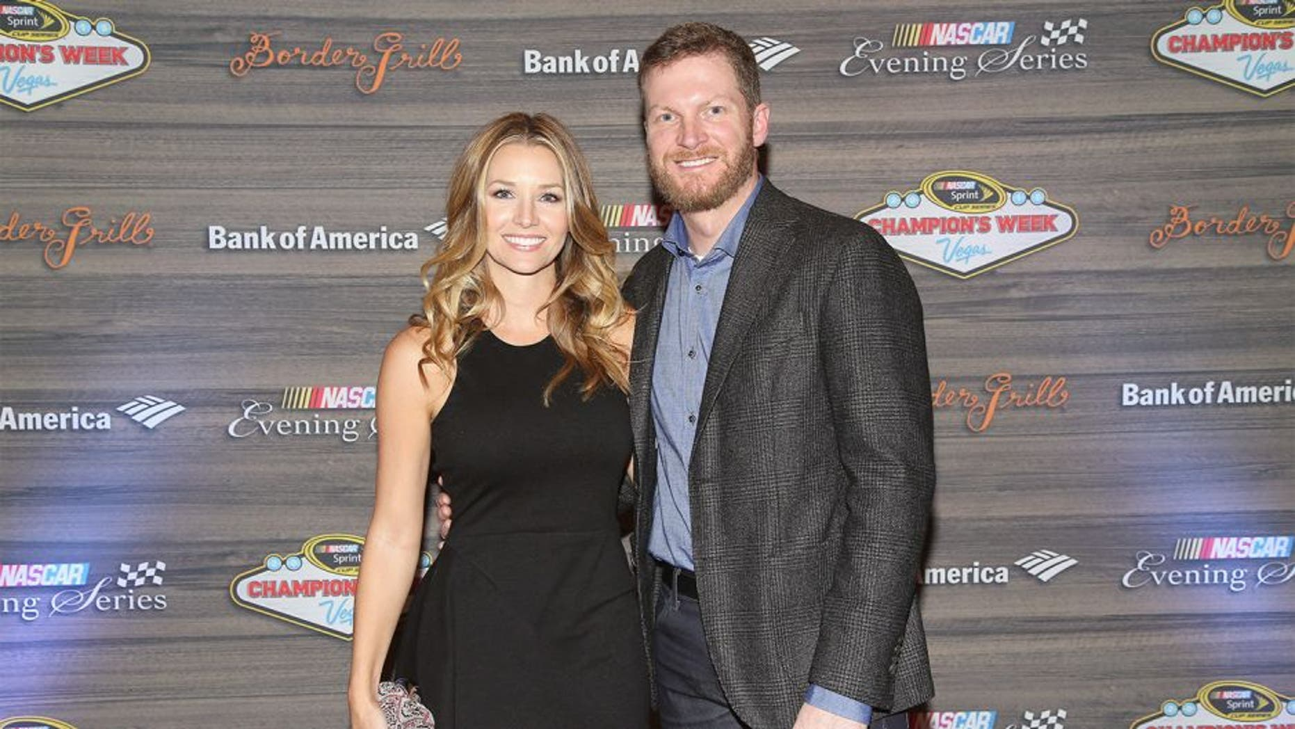 LAS VEGAS, NV - DECEMBER 02: NASCAR Sprint Cup Series driver Dale Earnhardt Jr. and fiancee Amy Reimann attend the NASCAR Evening Series presented by Bank of America at Border Grill inside Caesars Palace on December 2, 2015 in Las Vegas, Nevada. (Photo by Sean Gardner/NASCAR via Getty Images)