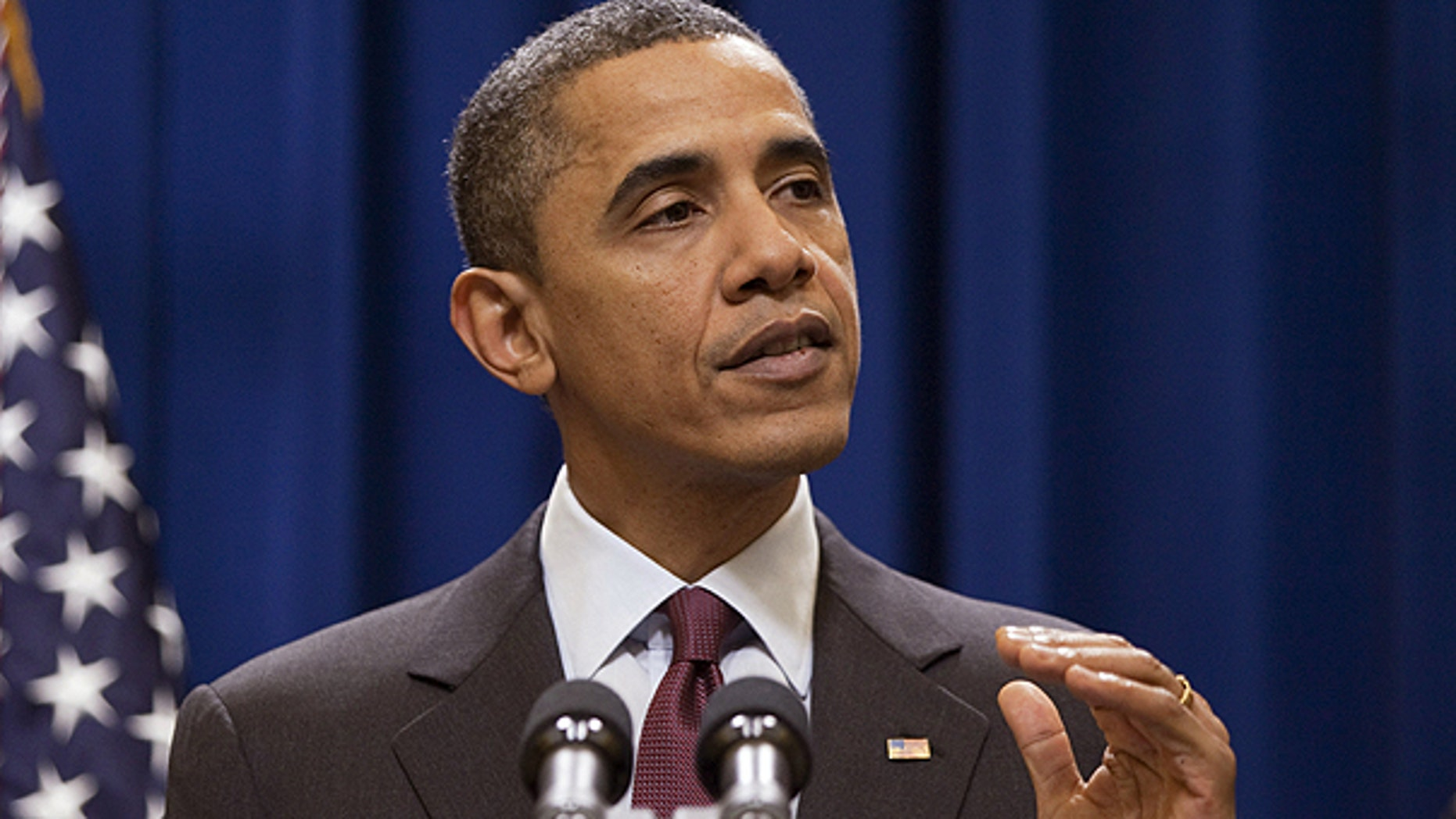 Dec. 4: President Obama gestures during a statement on the US-Korea Free Trade Agreement. Obama said he isn't happy Senate Republicans blocked legislation Saturday that would have extended tax cuts for the middle-class.