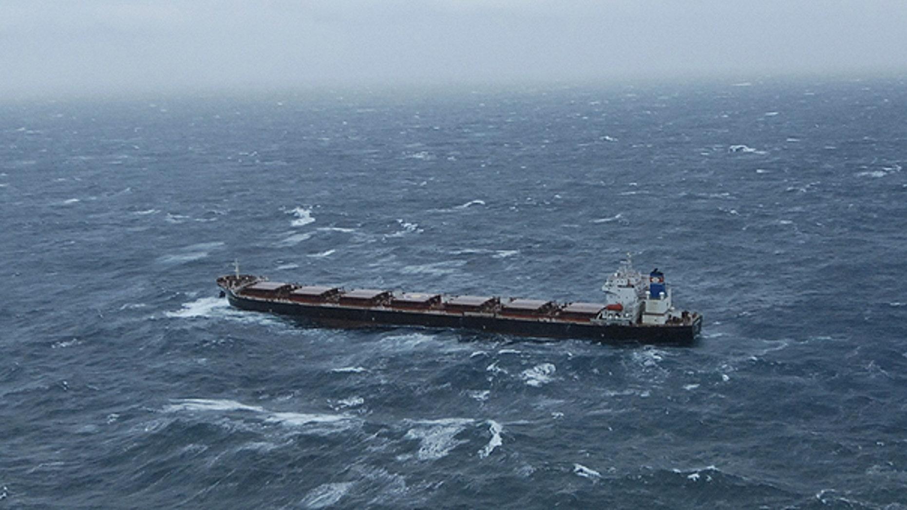 Dec. 3: This image provided by the U.S. Coast Guard shows the 738-foot tanker Golden Seas making 3.5 mph through 20-foot seas north of Adak Island Alaska.