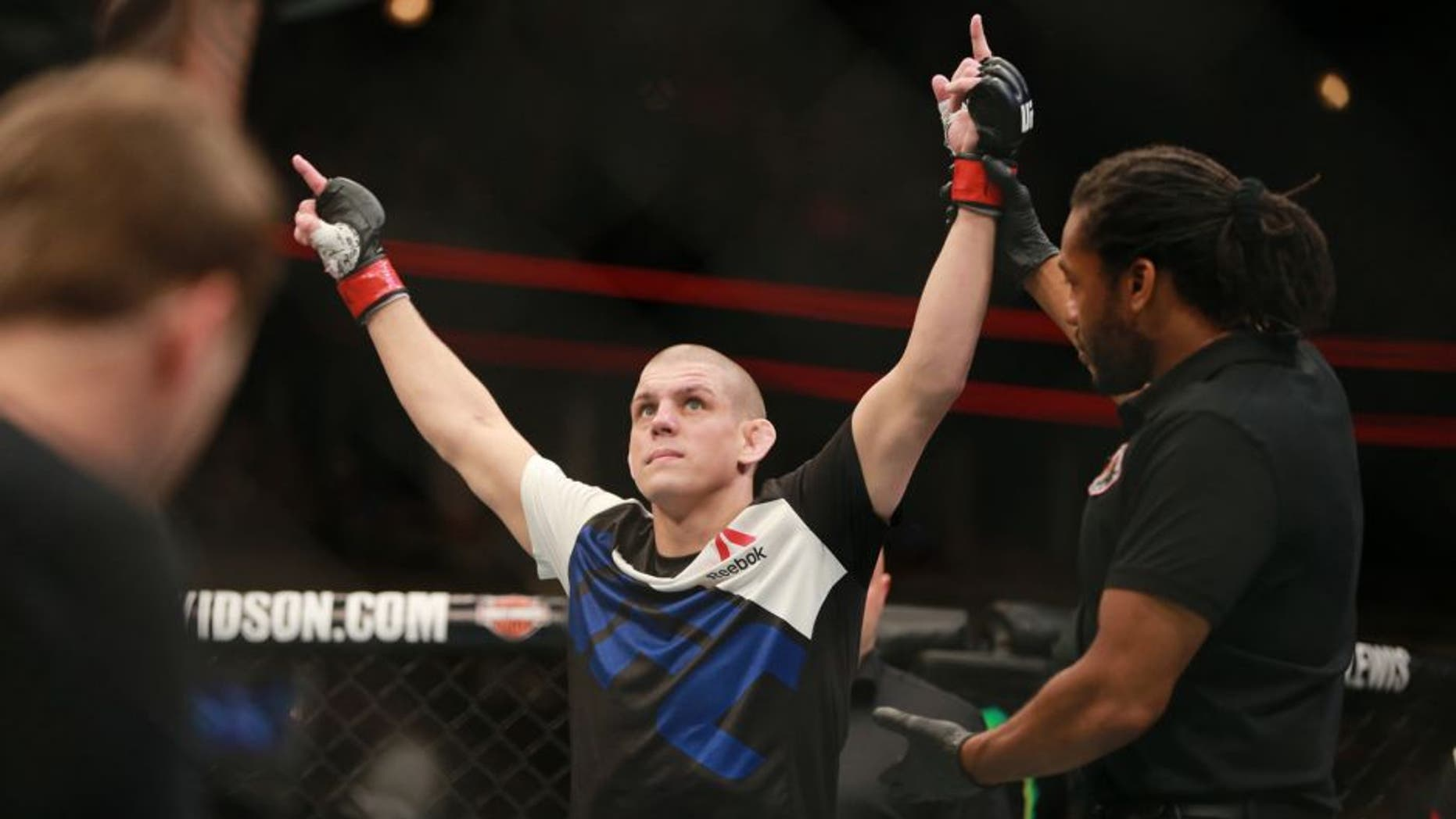 CHICAGO, IL - JULY 25: Joe Lauzon celebrates after defeating Takanori Gomi in their lightweight bout during the UFC event at the United Center on July 25, 2015 in Chicago, Illinois. (Photo by Rey Del Rio/Zuffa LLC/Zuffa LLC via Getty Images)