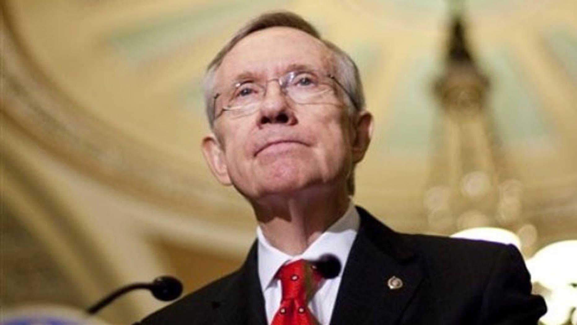 Dec. 6: Senate Majority Leader Harry Reid speaks to the media on Capitol Hill. (AP)