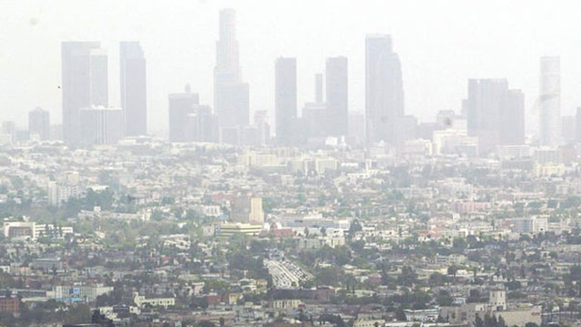 Smog blankets the city of Los Angeles, Calif., in this 2003 photo.
