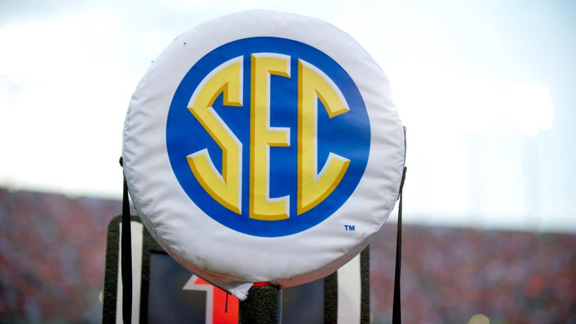 AUBURN, AL - AUGUST 31: A SEC logo on a field marker during Auburn's game against the Washington State Cougars on August 31, 2013 at Jordan-Hare Stadium in Auburn, Alabama. At halftime Auburn leads Washington State 25-21. (Photo by Michael Chang/Getty Images)