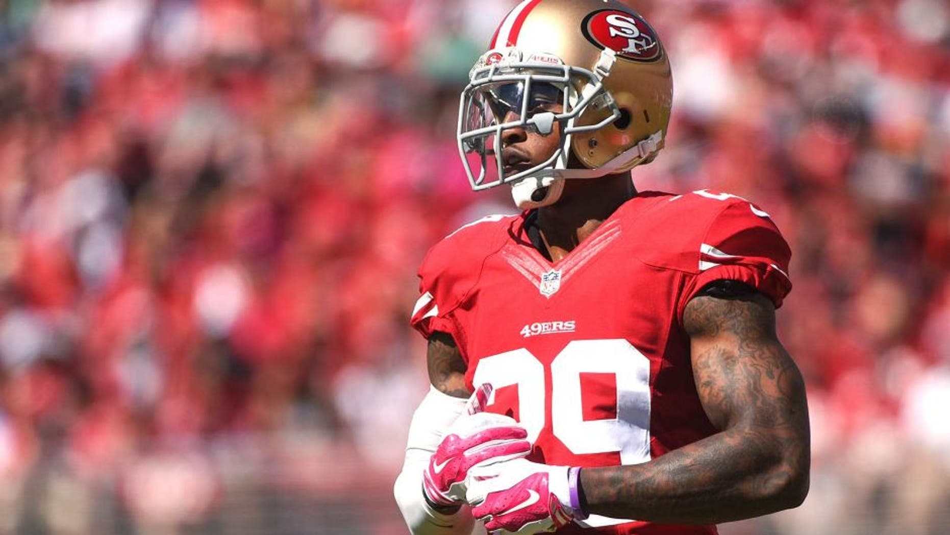October 5, 2014; Santa Clara, CA, USA; San Francisco 49ers cornerback Chris Culliver (29) looks to the sideline during the first quarter against the Kansas City Chiefs at Levi's Stadium. Mandatory Credit: Kyle Terada-USA TODAY Sports