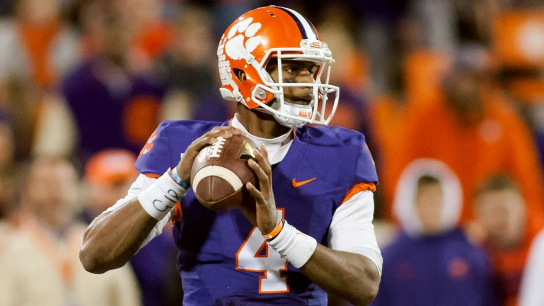 Nov 21, 2015; Clemson, SC, USA; Clemson Tigers quarterback Deshaun Watson (4) looks to pass the ball during the third quarter against the Wake Forest Demon Deacons at Clemson Memorial Stadium. Clemson defeated Wake Forest 33-13. Mandatory Credit: Jeremy Brevard-USA TODAY Sports