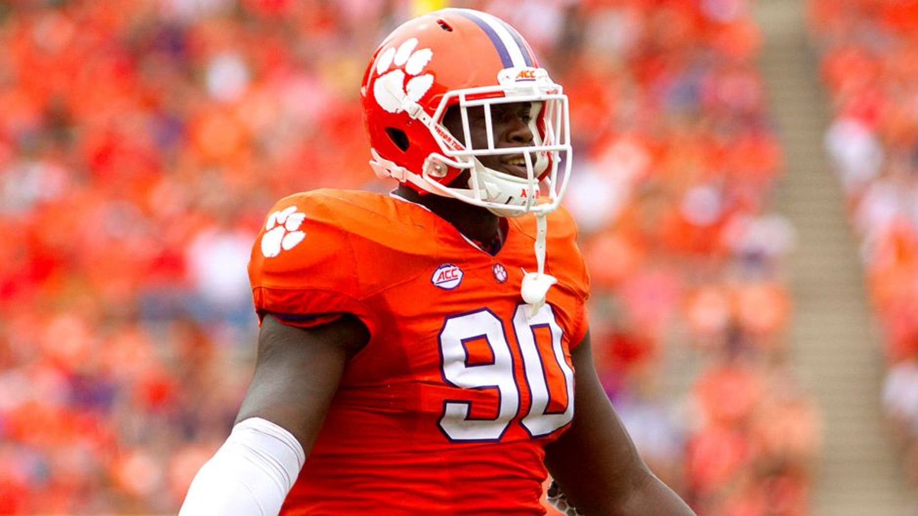 Sep 12, 2015; Clemson, SC, USA; Clemson Tigers defensive end Shaq Lawson (90) reacts during the second half against the Appalachian State Mountaineers at Clemson Memorial Stadium. Mandatory Credit: Joshua S. Kelly-USA TODAY Sports