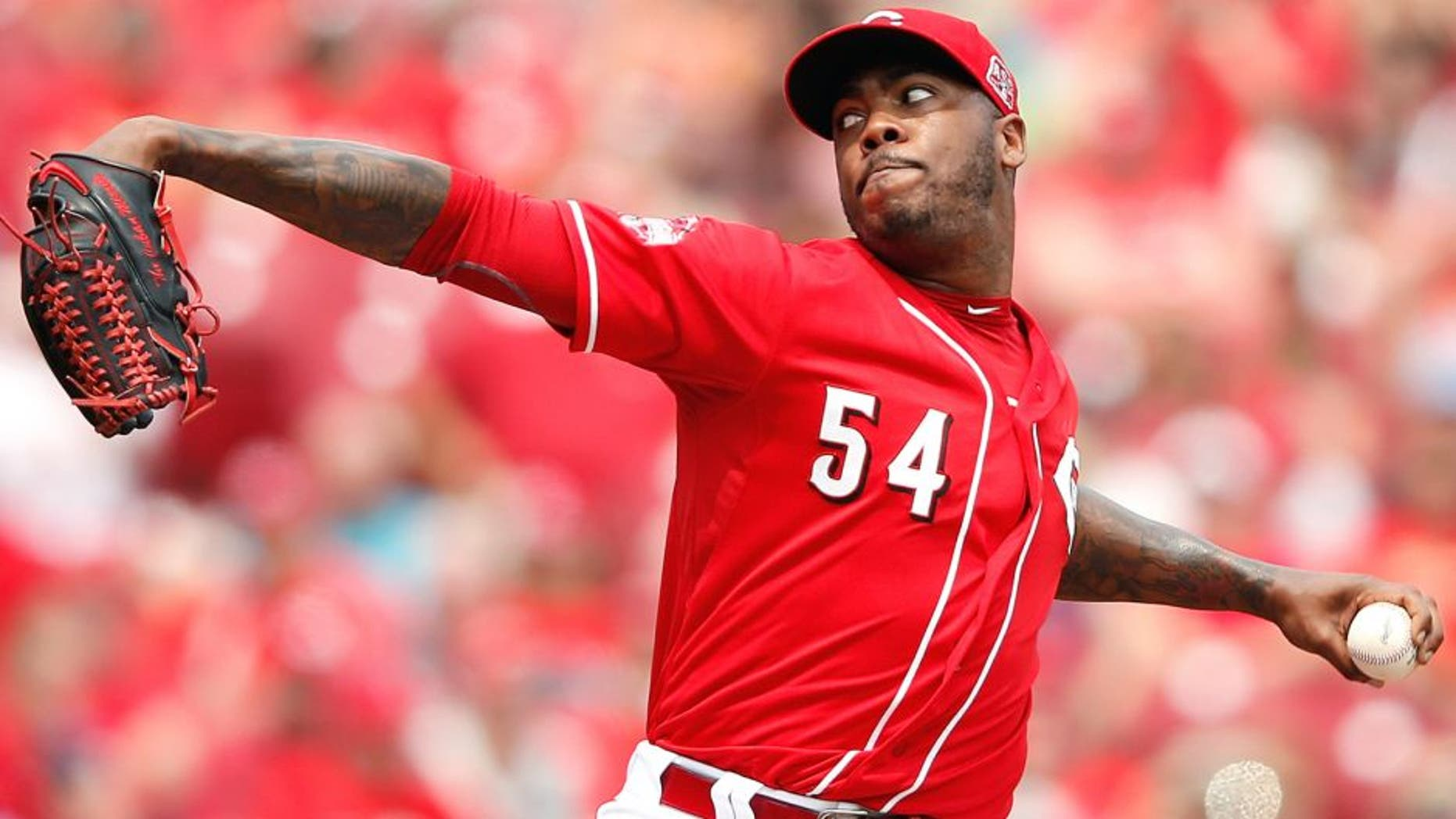 CINCINNATI, OH - JULY 1: Aroldis Chapman #54 of the Cincinnati Reds pitches in the ninth inning against the Minnesota Twins at Great American Ball Park on July 1, 2015 in Cincinnati, Ohio. The Reds defeated the Twins 2-1. (Photo by Joe Robbins/Getty Images)