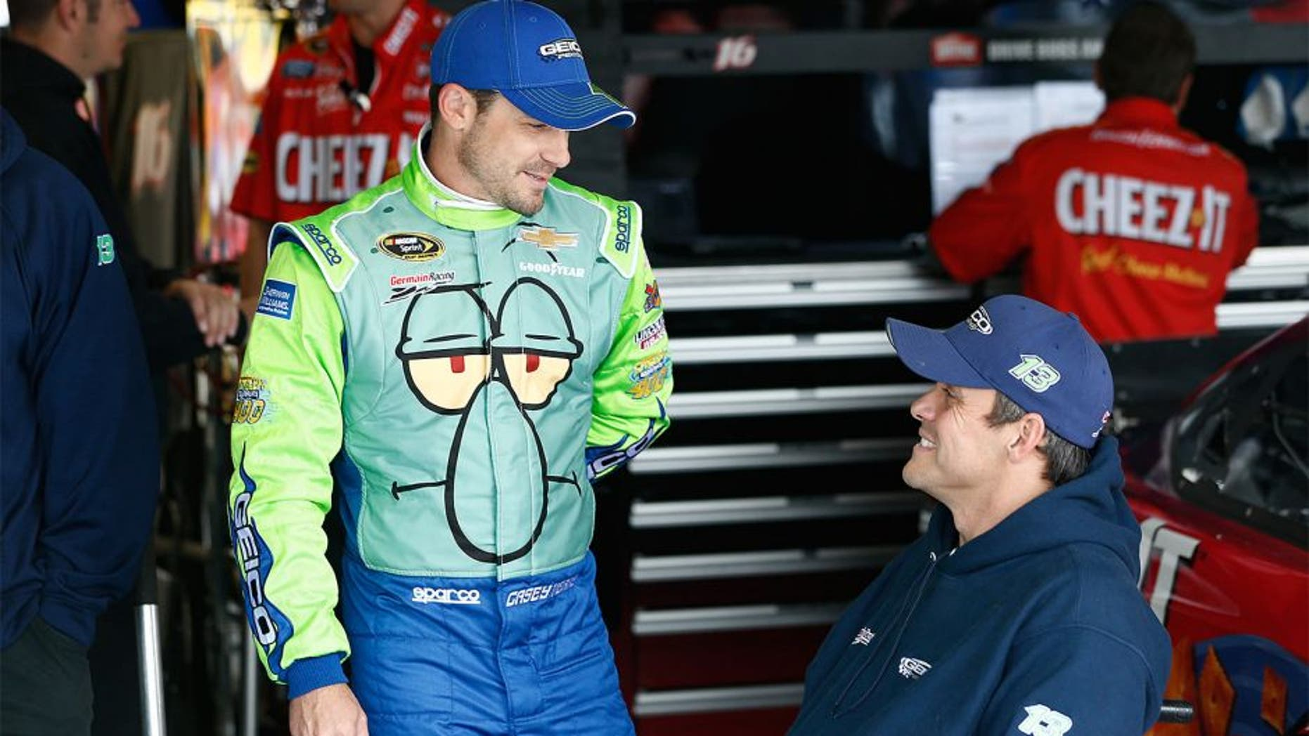 KANSAS CITY, KS - MAY 08: Casey Mears, driver of the #13 Squidward Tentacles Chevrolet, stands in the garage area during practice for the NASCAR Sprint Cup Series SpongeBob SquarePants 400 at Kansas Speedway on May 8, 2015 in Kansas City, Kansas. (Photo by Jeff Zelevansky/Getty Images)