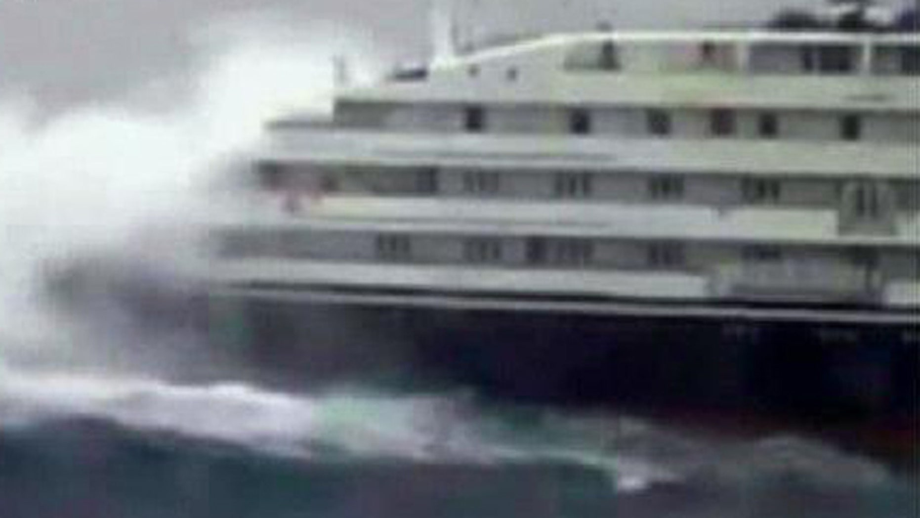 Massive waves knock out power to cruise ship.
