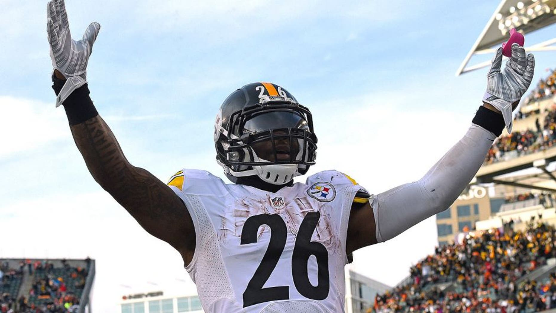 Dec 7, 2014; Cincinnati, OH, USA; Pittsburgh Steelers running back Le'Veon Bell (26) reacts after scoring a touchdown against the Cincinnati Bengals during the second half at Paul Brown Stadium. Pittsburgh Steelers defeat the Cincinnati Bengals 42-21. Mandatory Credit: Mike DiNovo-USA TODAY Sports