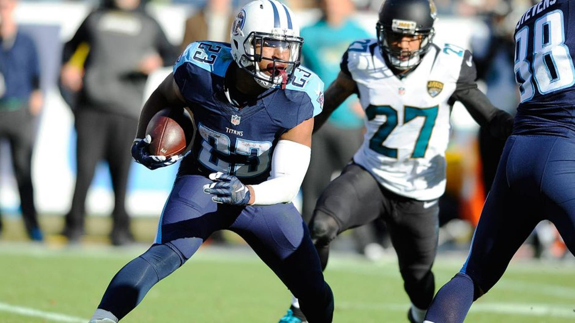 Dec 6, 2015; Nashville, TN, USA; Tennessee Titans running back David Cobb (23) is stopped behind the line during the second half against the Jacksonville Jaguars at Nissan Stadium. Mandatory Credit: Christopher Hanewinckel-USA TODAY Sports