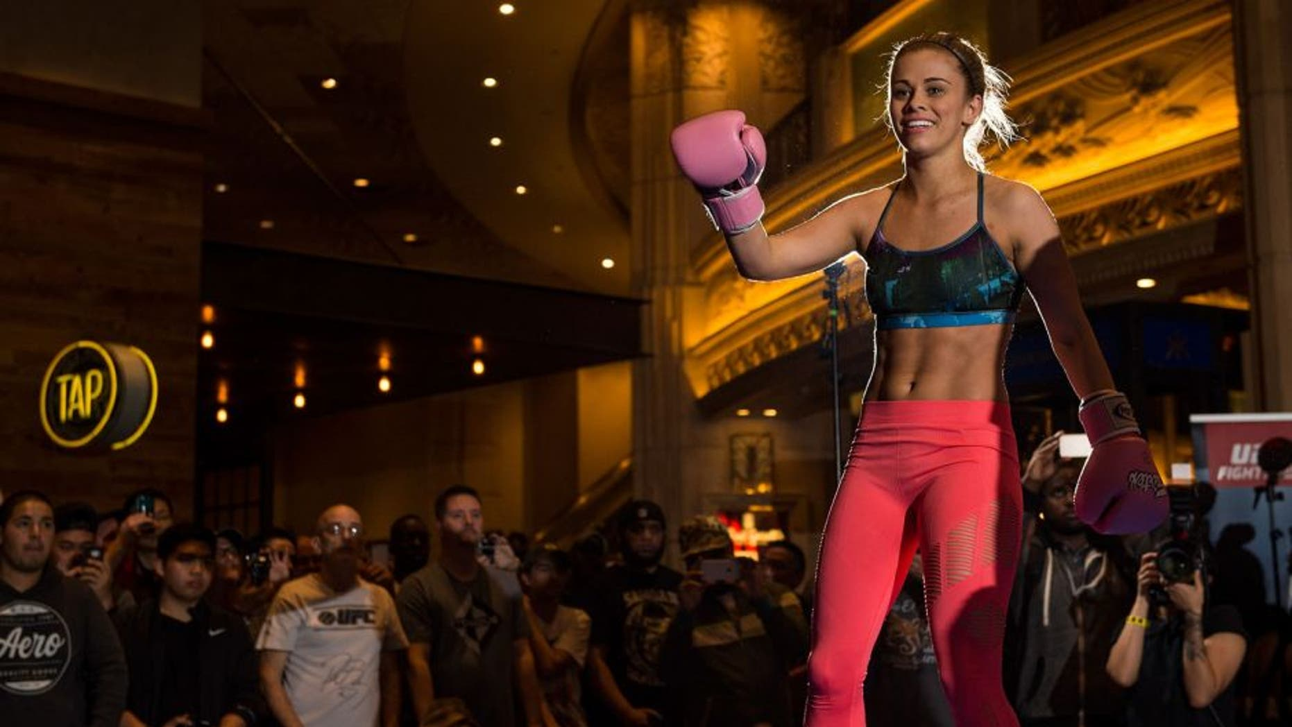 LAS VEGAS, NEVADA - DECEMBER 08: Paige VanZant holds an open training session for fans and media at the MGM Grand Hotel/Casino on December 8, 2015 in Las Vegas Nevada. (Photo by Brandon Magnus/Zuffa LLC/Zuffa LLC via Getty Images)