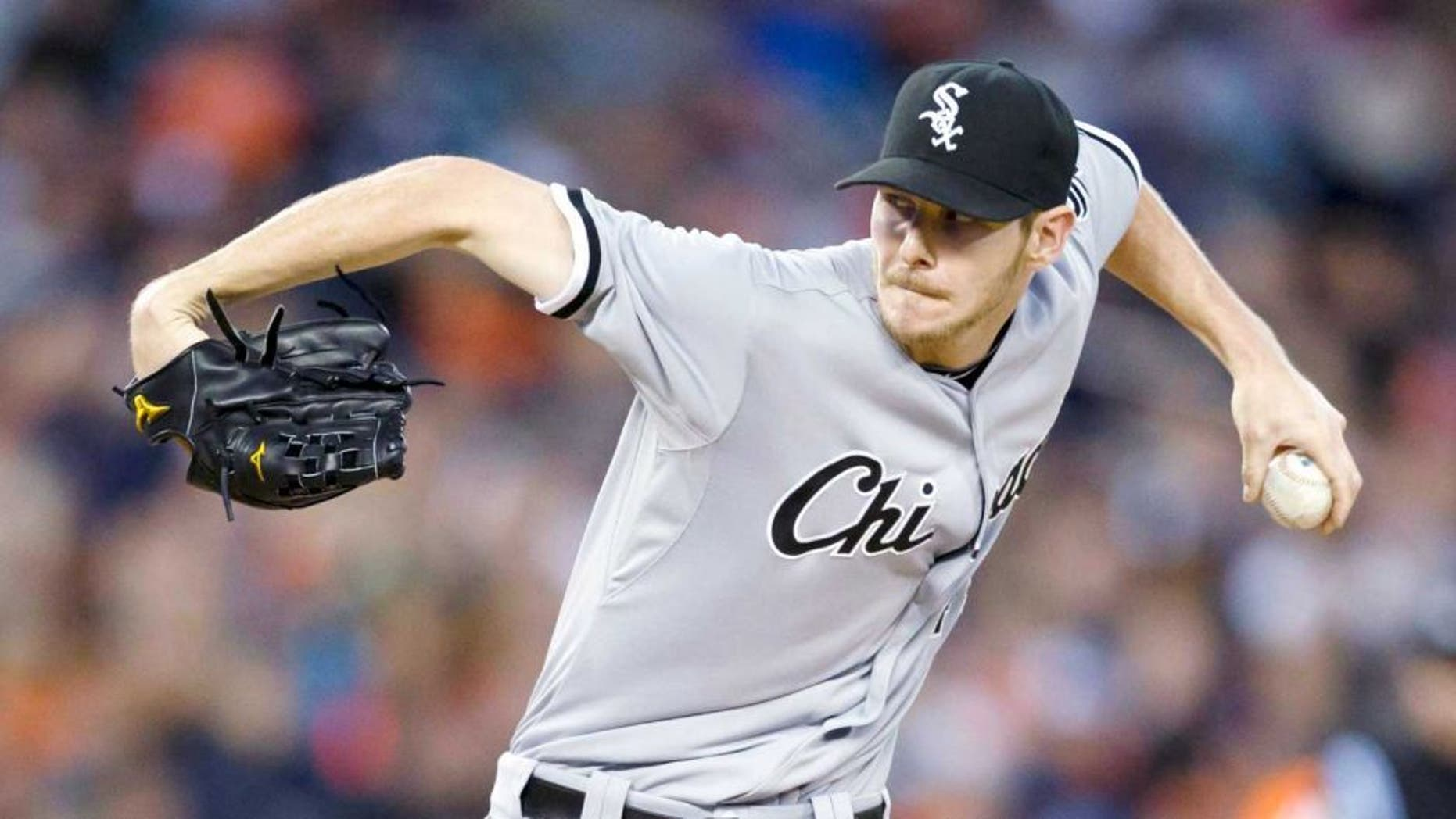 Sep 21, 2013; Detroit, MI, USA; Chicago White Sox starting pitcher Chris Sale (49) pitches in the second inning against the Detroit Tigers at Comerica Park. Mandatory Credit: Rick Osentoski-USA TODAY Sports