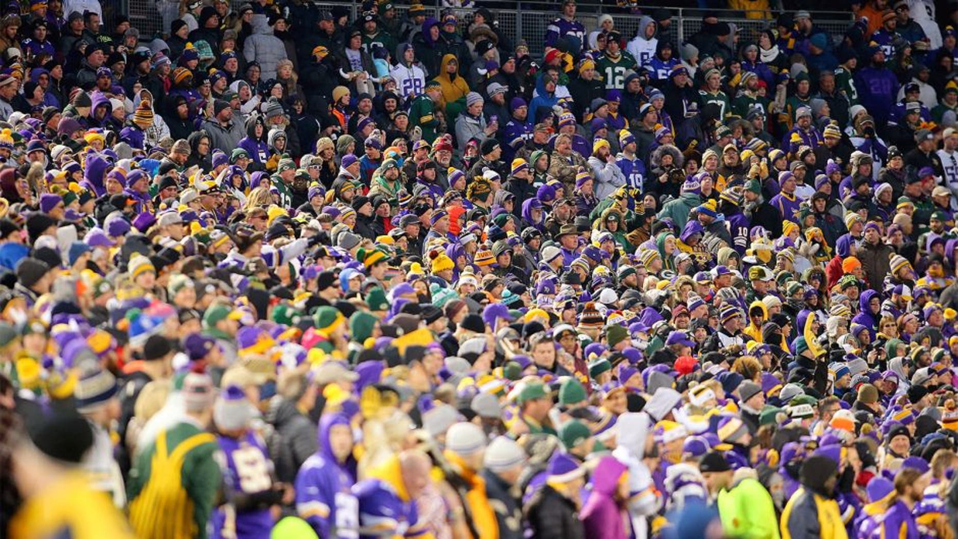MINNEAPOLIS, MN - NOVEMBER 22: Fans in the stands watch the Minnesota Vikings against the Green Bay Packers in the second quarter on November 22, 2015 at TCF Bank Stadium in Minneapolis, Minnesota. (Photo by Adam Bettcher/Getty Images)