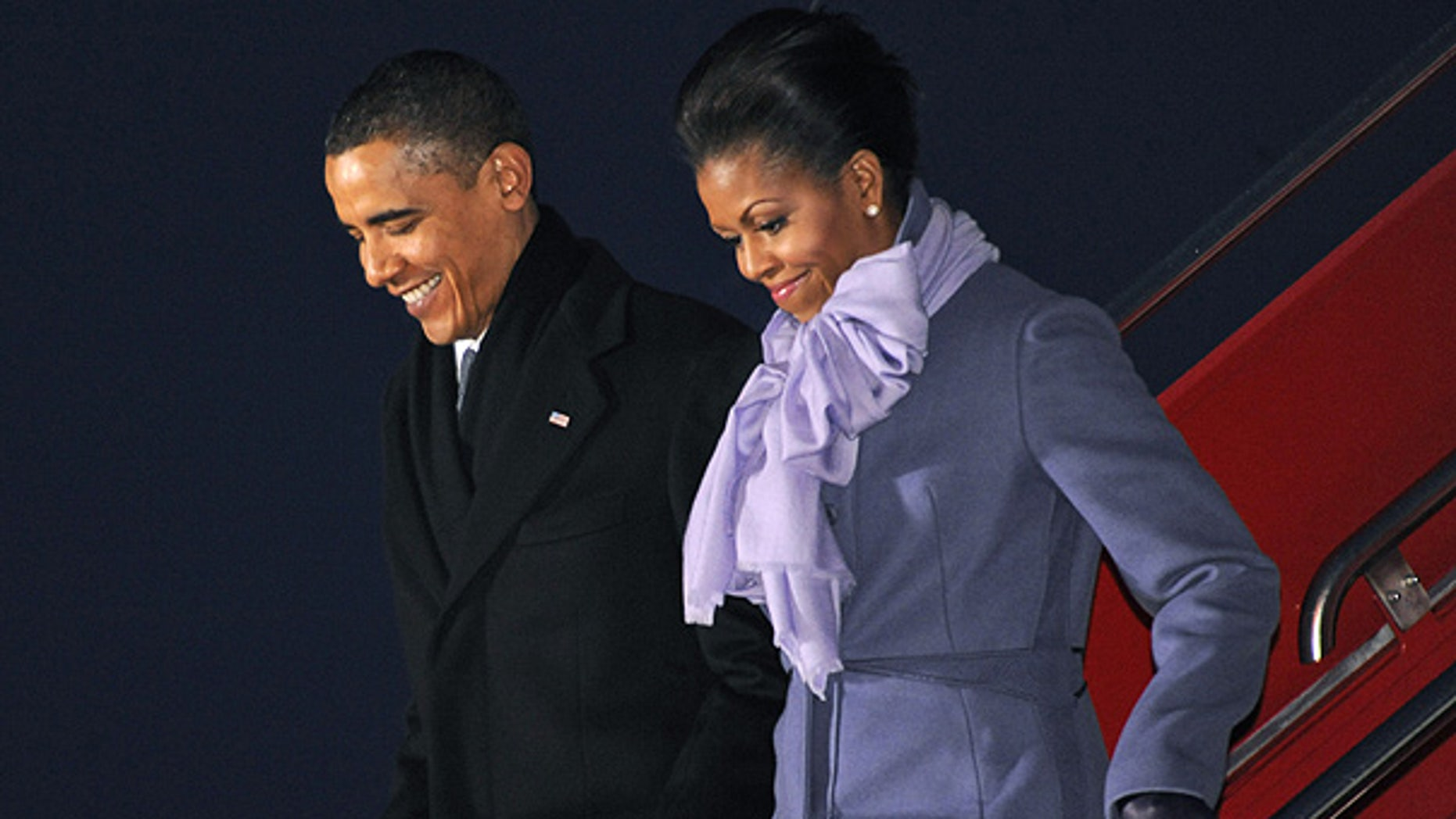 Dec. 10: President Obama and first lady Michelle arrive at Gardermoen Airport in Oslo, Norway. (AP)