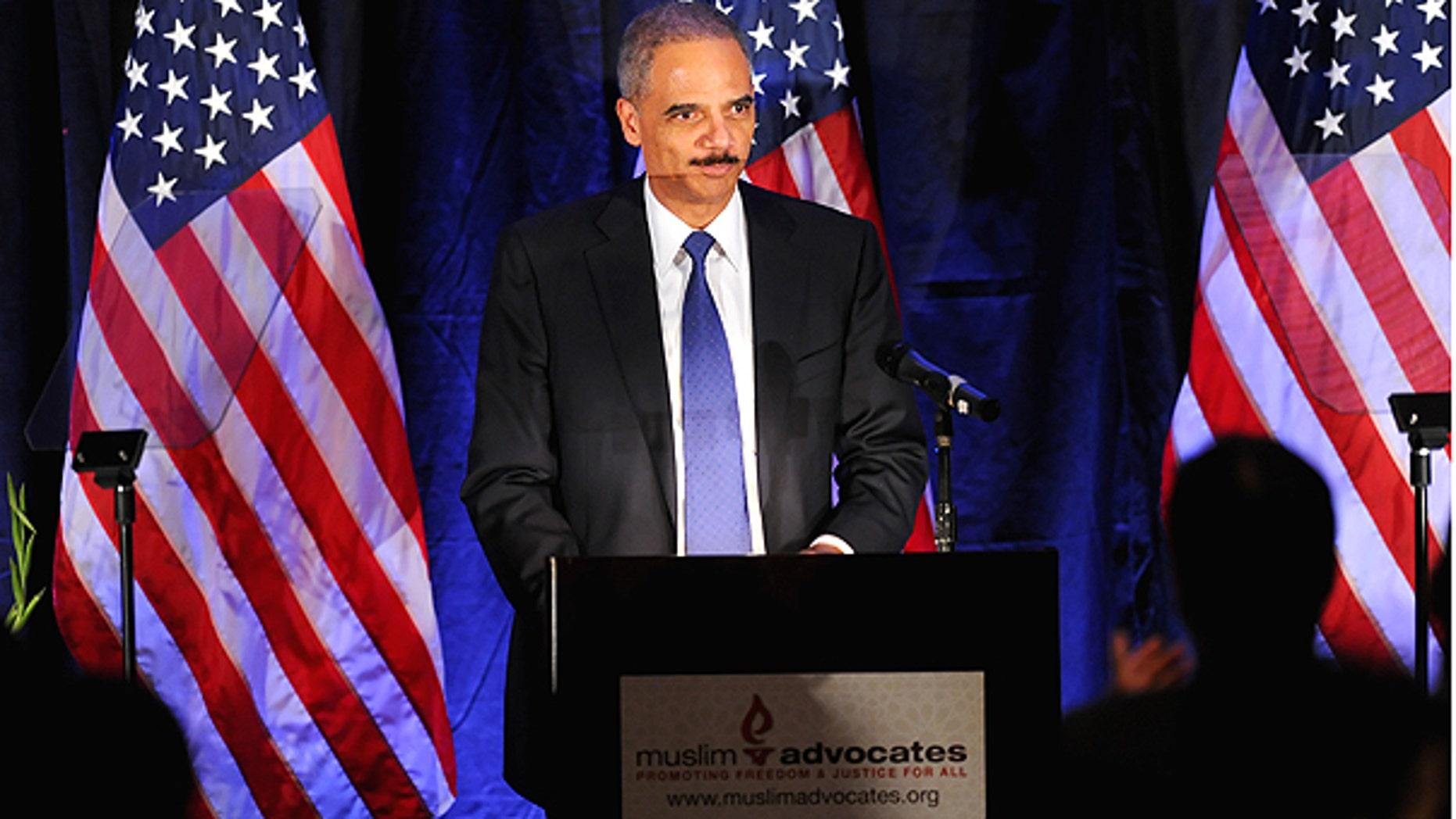 Dec. 10: Attorney General Eric Holder speaks at the Muslim Advocates annual dinner in Millbrae, Calif.