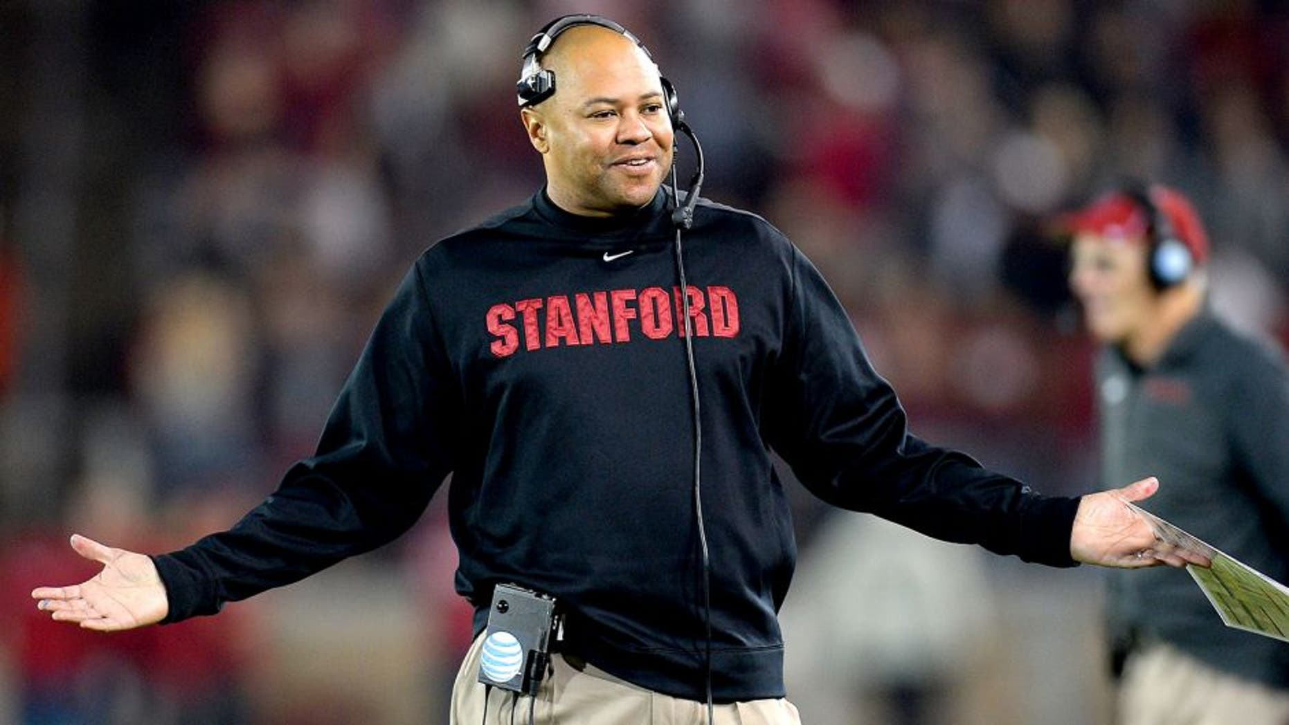 PALO ALTO, CA - NOVEMBER 30: Head Coach David Shaw of the Stanford Cardinals reacts to an officials personal foul call against his team for the Notre Dame Fighting Irish during the third quarter at Stanford Stadium on November 30, 2013 in Palo Alto, California. The call was reversed and no penalty was assessed to Stanford. (Photo by Thearon W. Henderson/Getty Images) *** Local Caption *** David Shaw