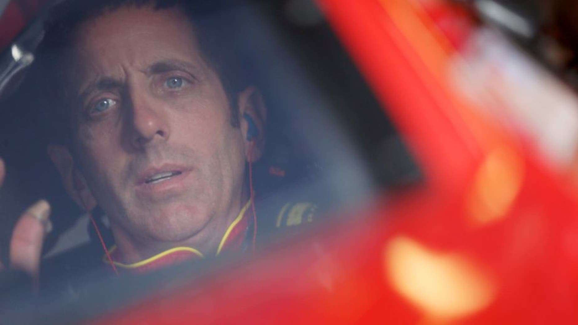 Greg Biffle, driver of the #16 Cheez-It Ford, sits in his car during practice for the NASCAR Sprint Cup Series CampingWorld.com 500 at Talladega Superspeedway on October 23, 2015 in Talladega, Alabama. (Photo by Chris Graythen/NASCAR via Getty Images)