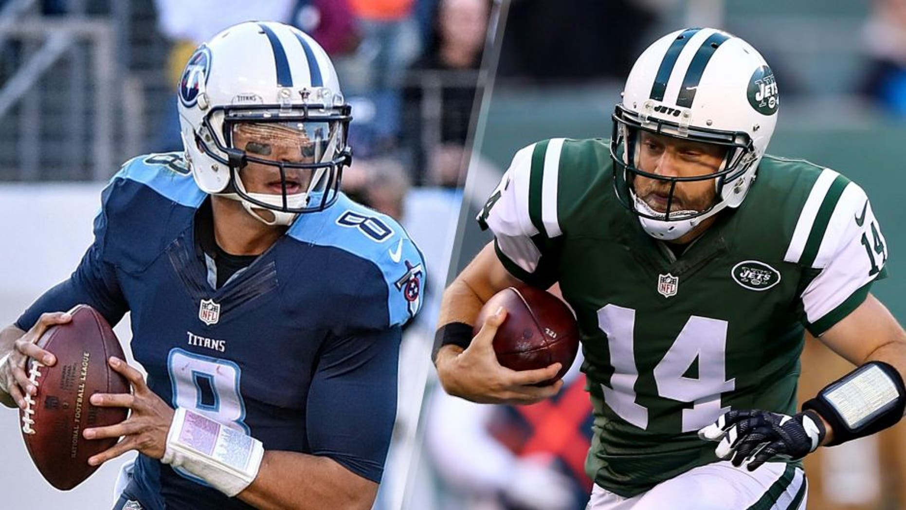 Quarterback Marcus Mariota #8 of the Tennessee Titans plays against the Jacksonville Jaguars at Nissan Stadium on December 6, 2015 in Nashville, Tennessee. (Photo by Frederick Breedon/Getty Images) Ryan Fitzpatrick #14 of the New York Jets scrambles in the third quarter against the Miami Dolphins on November 29, 2015 at MetLife Stadium in East Rutherford, New Jersey. (Photo by Elsa/Getty Images)