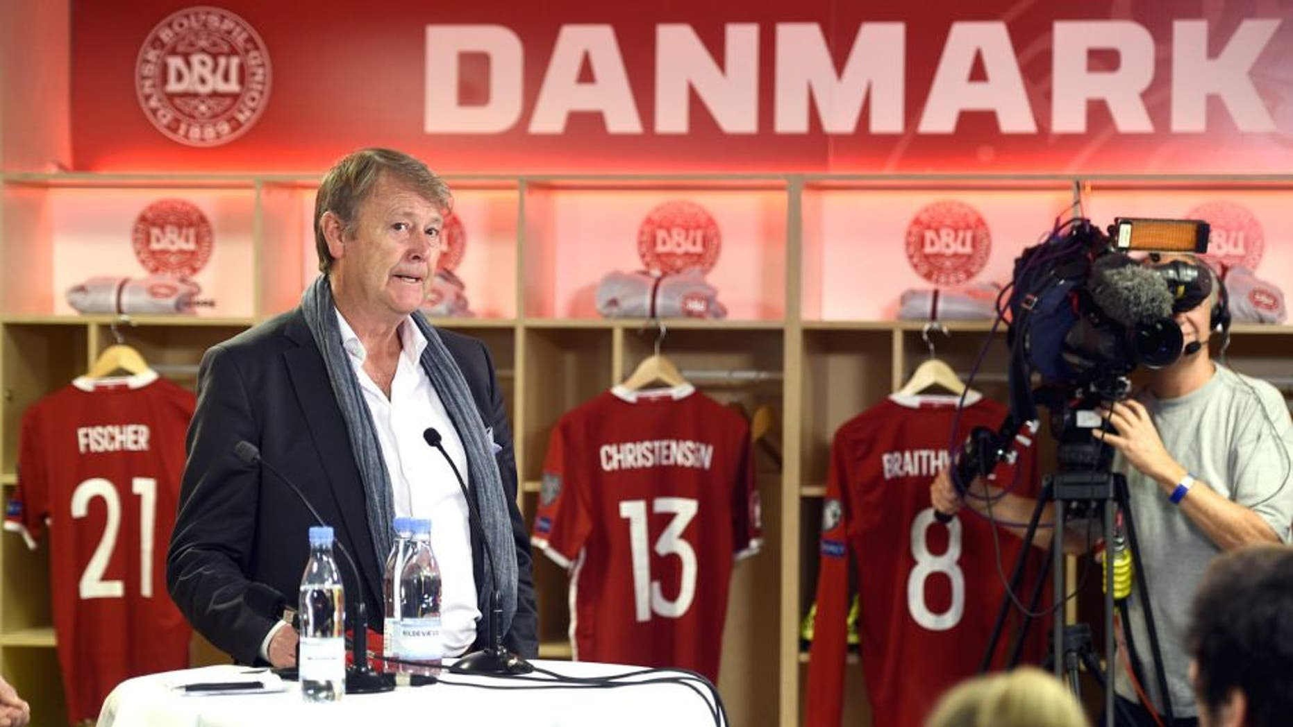 COPENHAGEN, DENMARK - DECEMBER 10: Age Hareide, New head coach of Denmark speaks to the media during the Danish FA (DBU) Press Conference at Telia Parken Stadium on December 10, 2015 in Copenhagen, Denmark. (Photo by Lars Ronbog / FrontZoneSport via Getty Images)