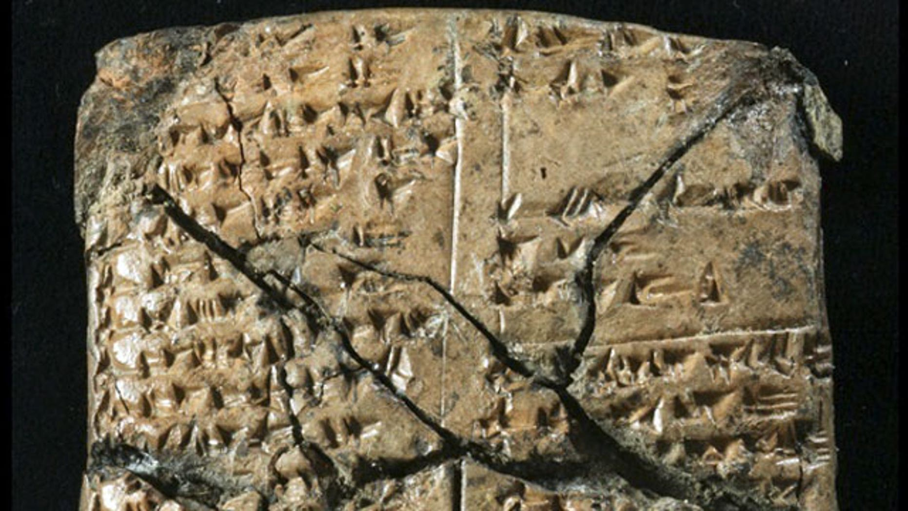 Ancient clay tablets (such as the one pictured) inscribed with cuneiform script, a type of ancient writing once common in the Middle East, have been found in southeastern Turkey, archaeologists announced in October 2009.