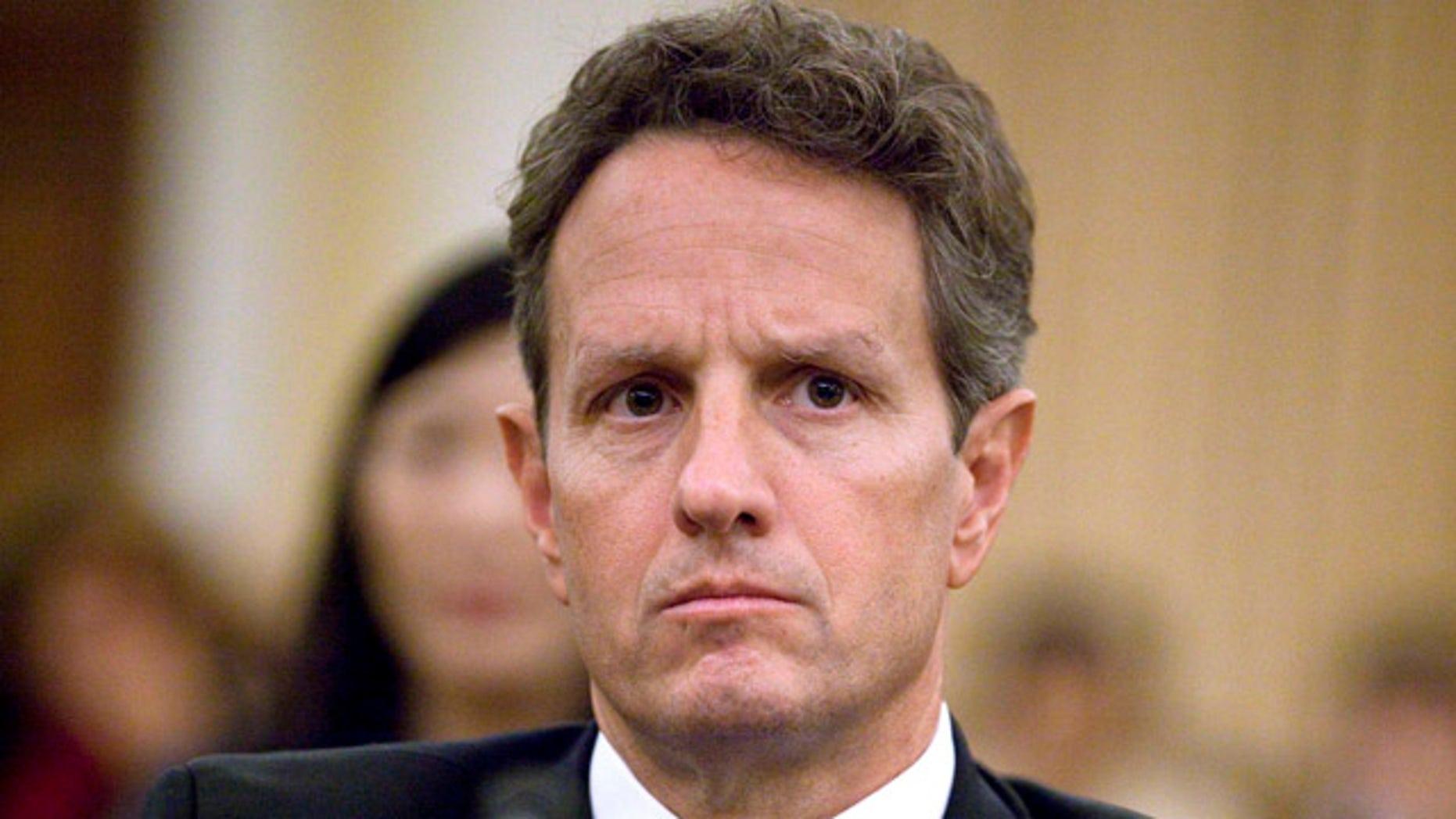 FILE: Sept. 16, 2010: Treasury Secretary Timothy Geithner testifies on Capitol Hill in Washington.