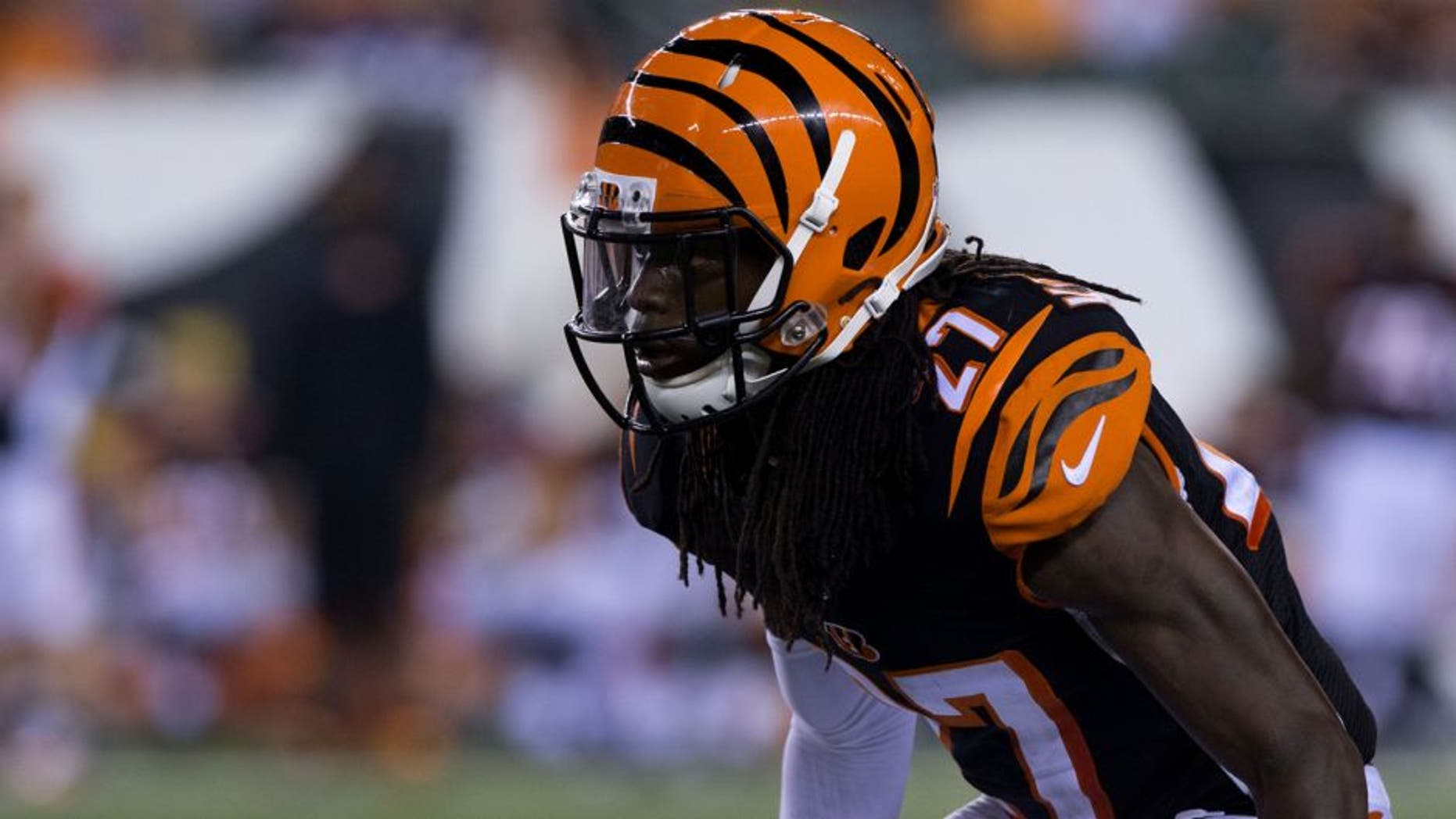Aug 28, 2014; Cincinnati, OH, USA; Cincinnati Bengals cornerback Dre Kirkpatrick (27) against the Indianapolis Colts at Paul Brown Stadium. The Cincinnati Bengals won 35-7. Mandatory Credit: Aaron Doster-USA TODAY Sports