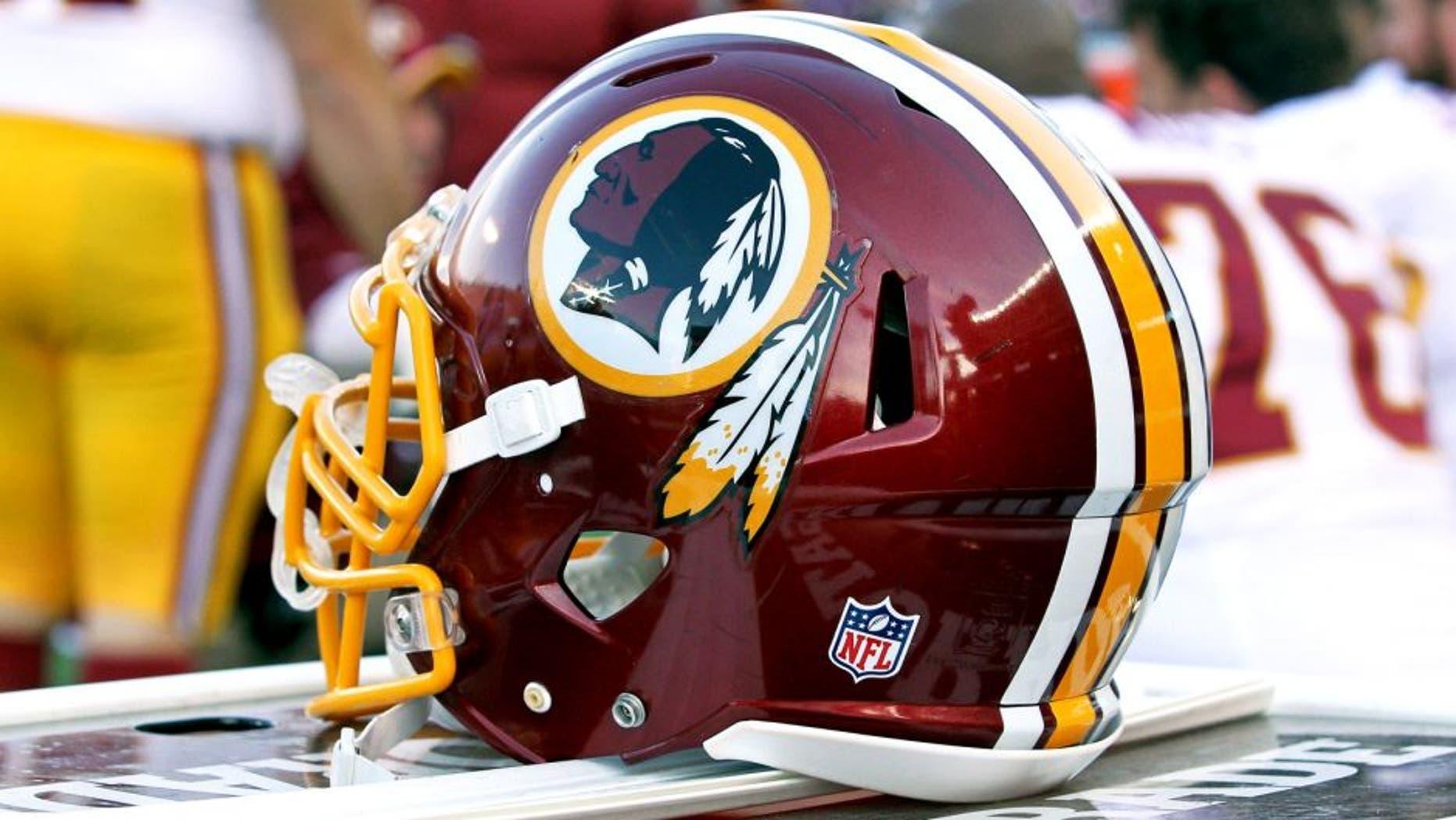 Nov 2, 2014; Minneapolis, MN, USA; A Washington Redskins helmet on the bench during the fourth quarter against the Minnesota Vikings at TCF Bank Stadium. The Vikings defeated the Redskins 29-26. Mandatory Credit: Brace Hemmelgarn-USA TODAY Sports