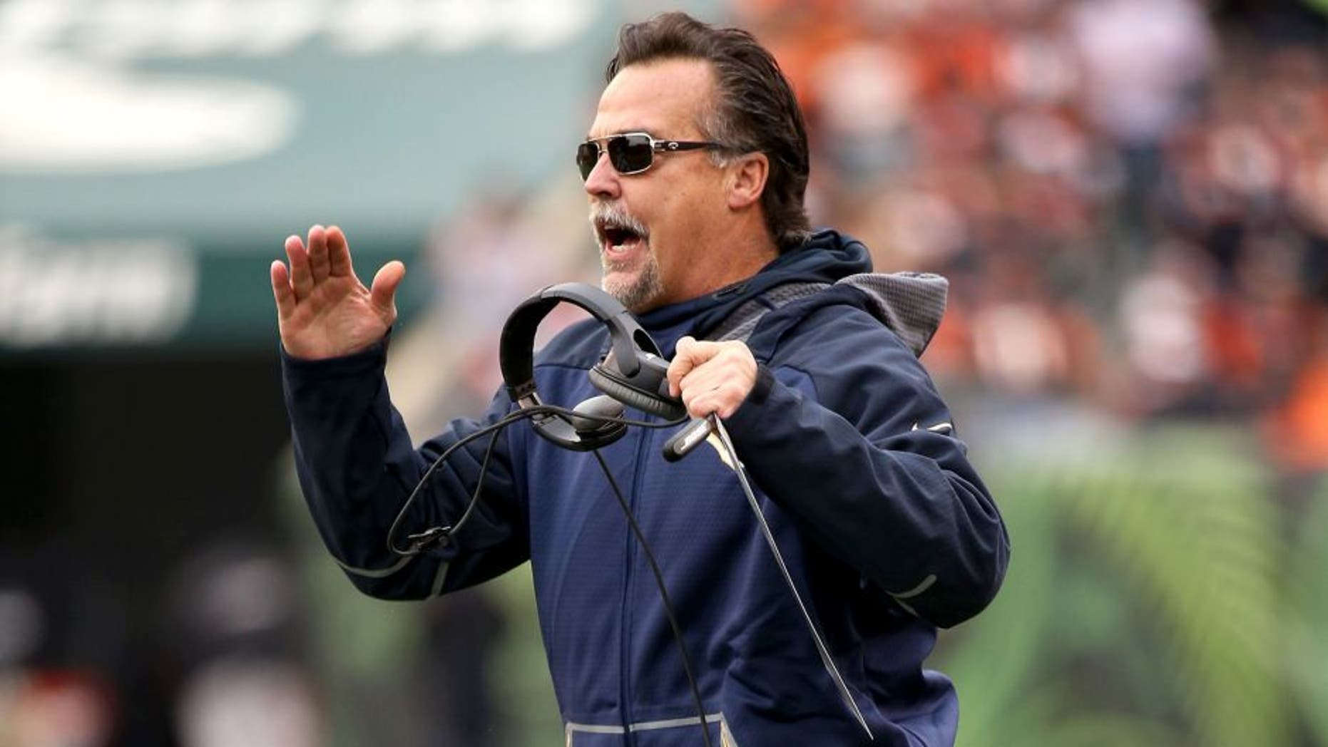 CINCINNATI, OH - NOVEMBER 29: Head coach Jeff Fisher of the St. Louis Rams calls out during the game against the Cincinnati Bengals at Paul Brown Stadium on November 29, 2015 in Cincinnati, Ohio. (Photo by Andy Lyons/Getty Images)