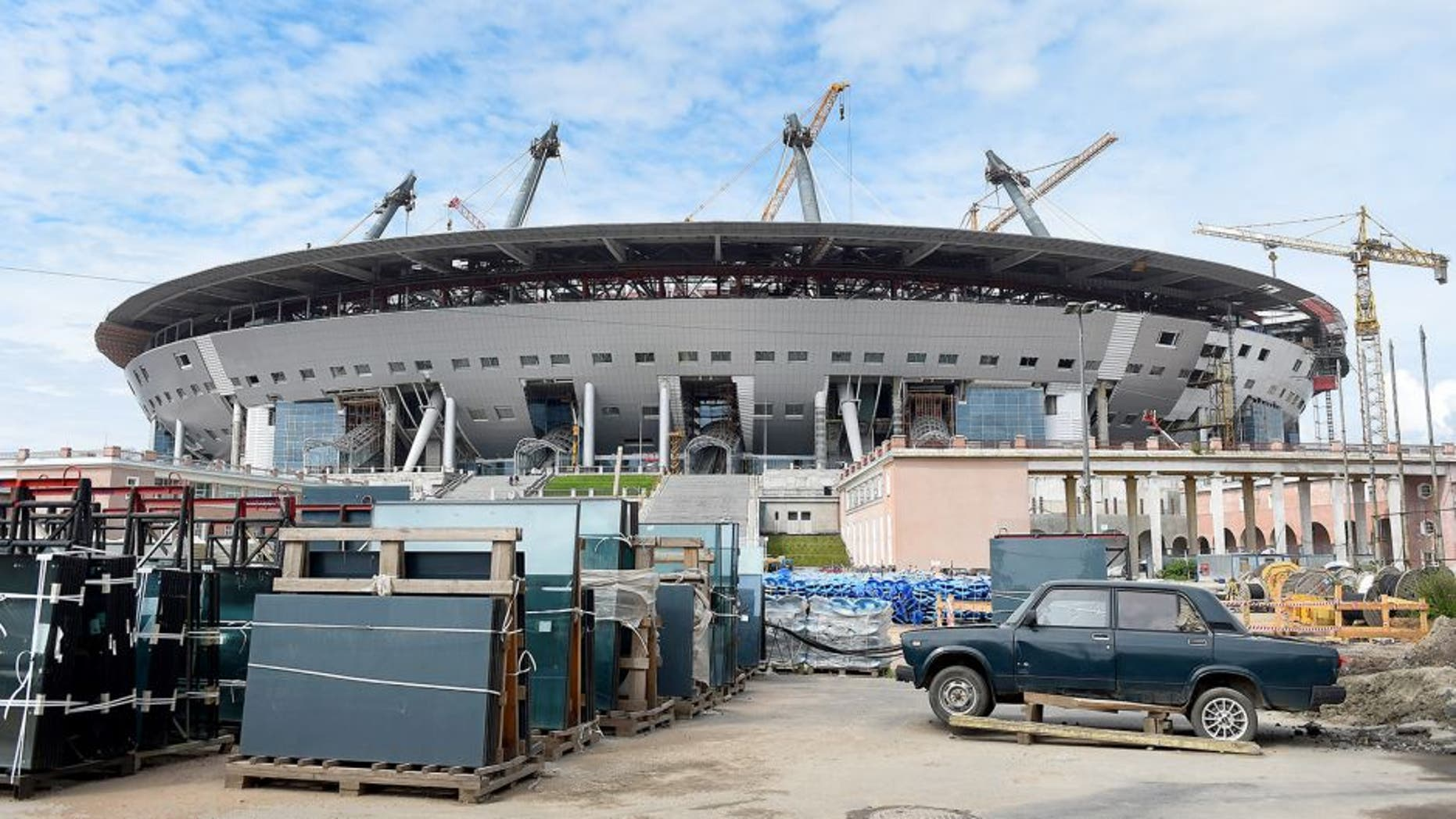 SAINT PETERSBURG, RUSSIA - JULY 20: A general view of the Saint Petersburg Stadium construction site during a media tour of Russia 2018 FIFA World Cup venues on July 20, 2015 in Saint Petersburg, Russia. (Photo by Laurence Griffiths/Getty Images)